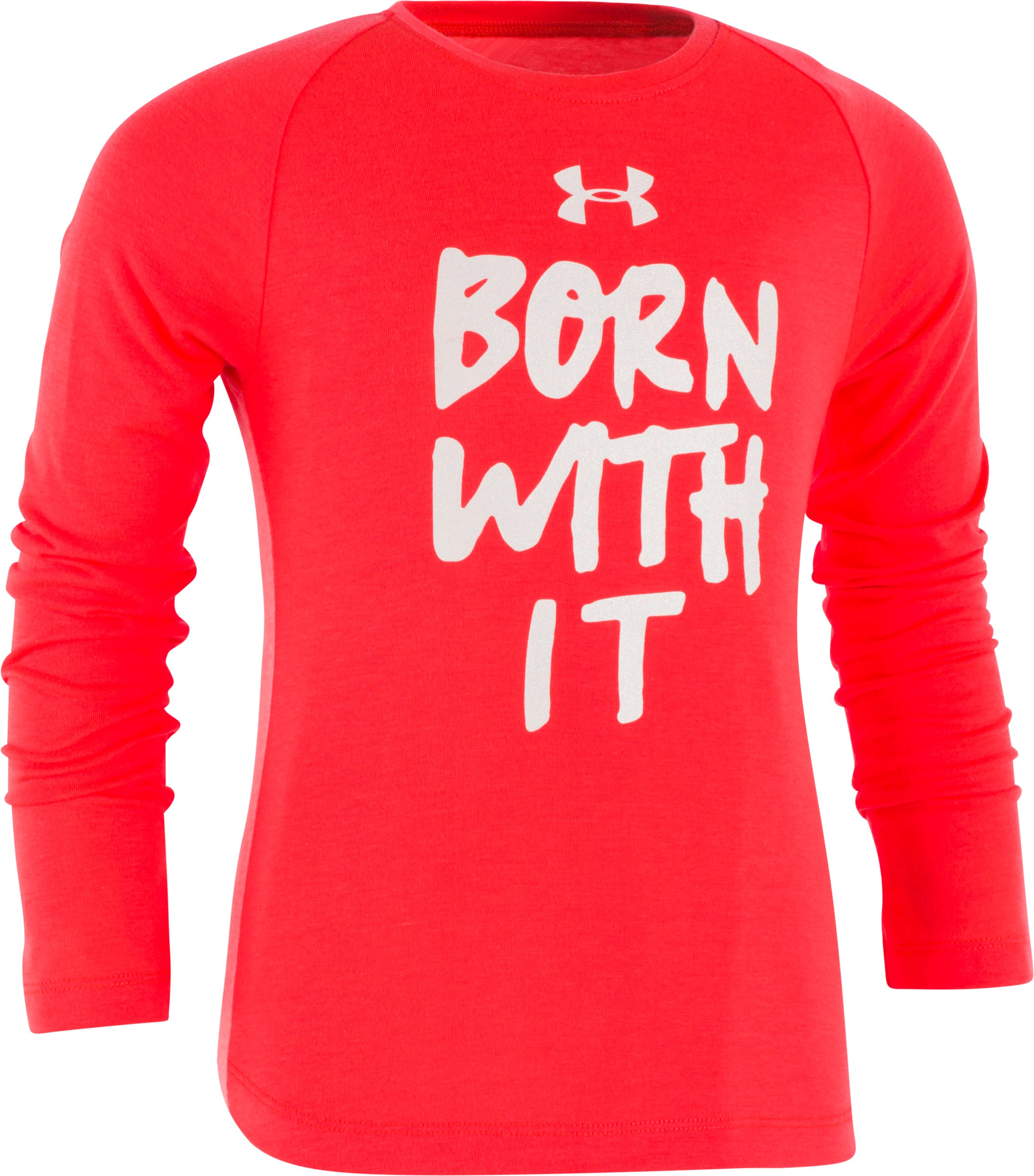 Girls' Toddler UA Born With It Long Sleeve, MARATHON RED, Laydown