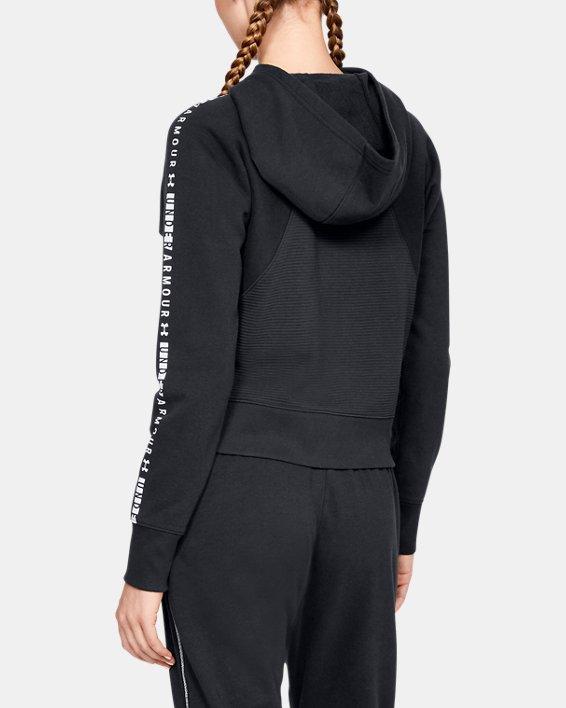 Women's UA Microthread Fleece Graphic Full Zip, Black, pdpMainDesktop image number 2