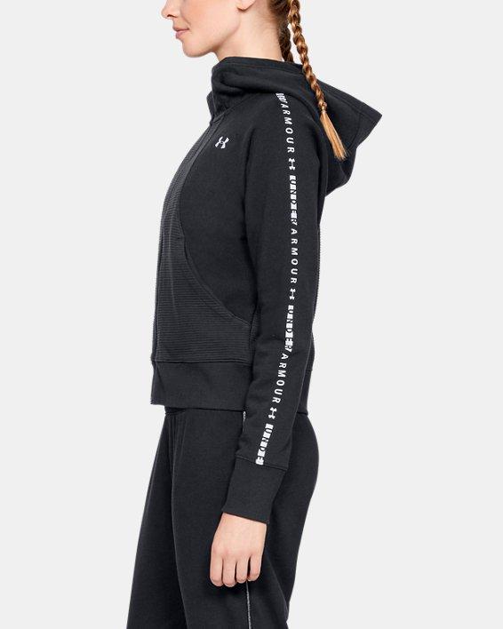 Women's UA Microthread Fleece Graphic Full Zip, Black, pdpMainDesktop image number 3