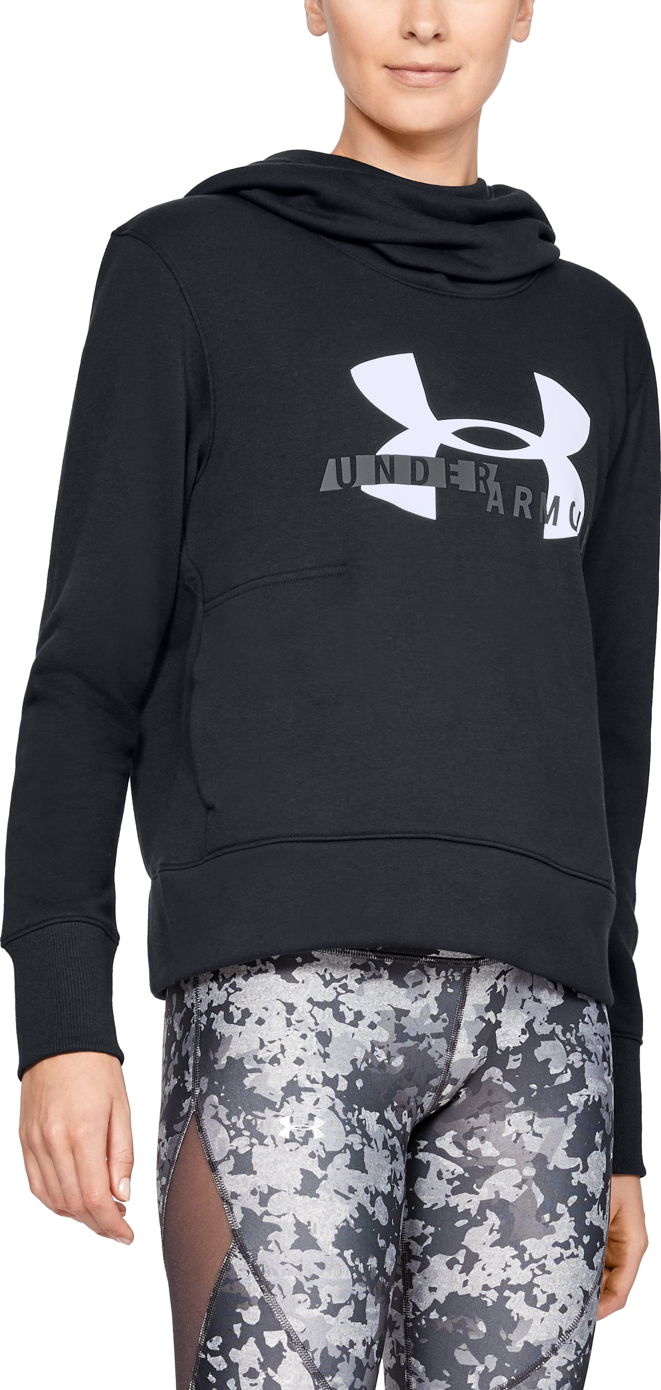 Women's UA Rival Fleece Logo Hoodie, Black