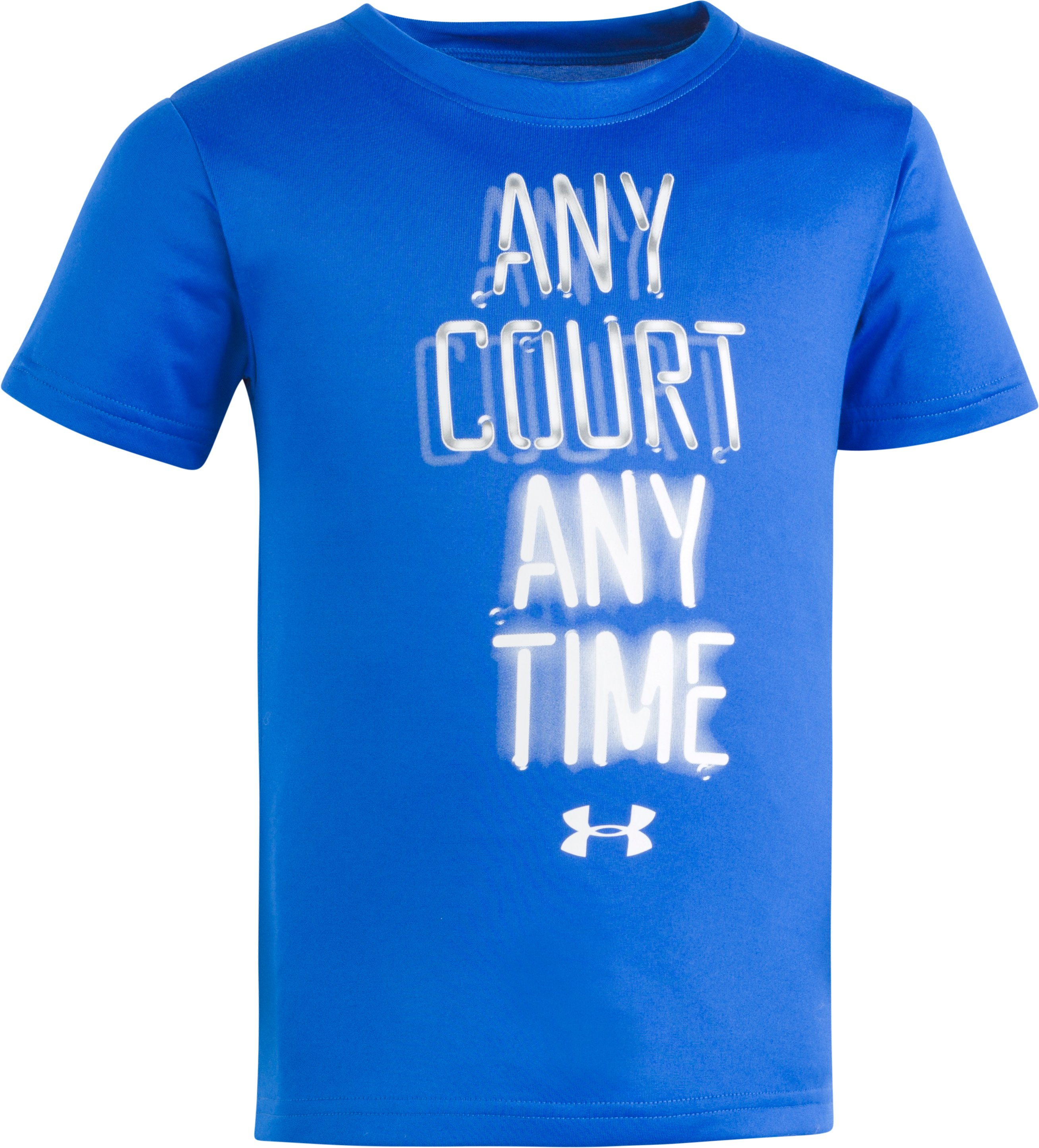 Boys' Pre-School UA Any Court Any Time Short Sleeve Shirt, ULTRA BLUE, Laydown
