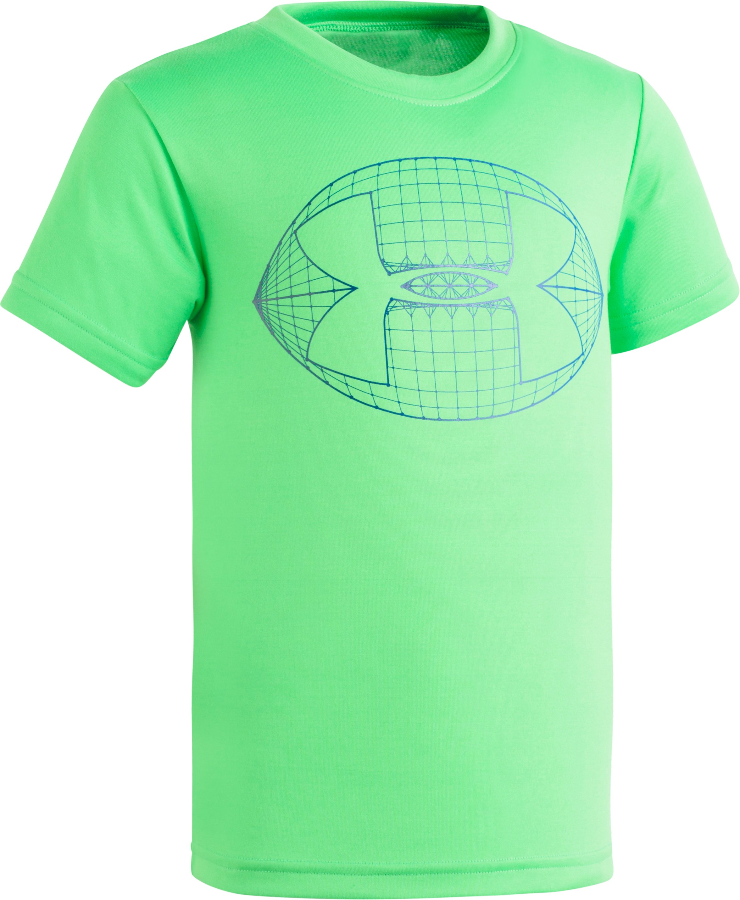 Boys' Pre-School UA Football Big Logo Short Sleeve, LIME TWIST, Laydown