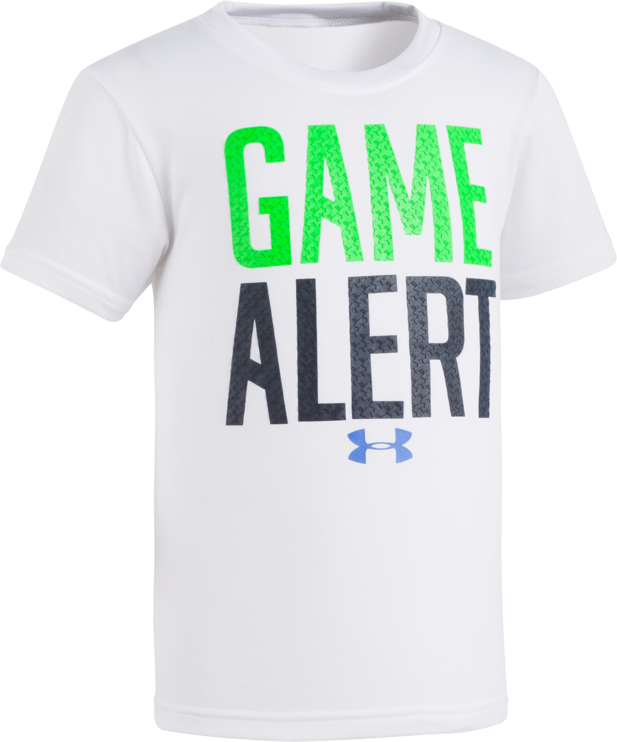 Boys' Pre-School UA Game Alert Short Sleeve, White, Laydown