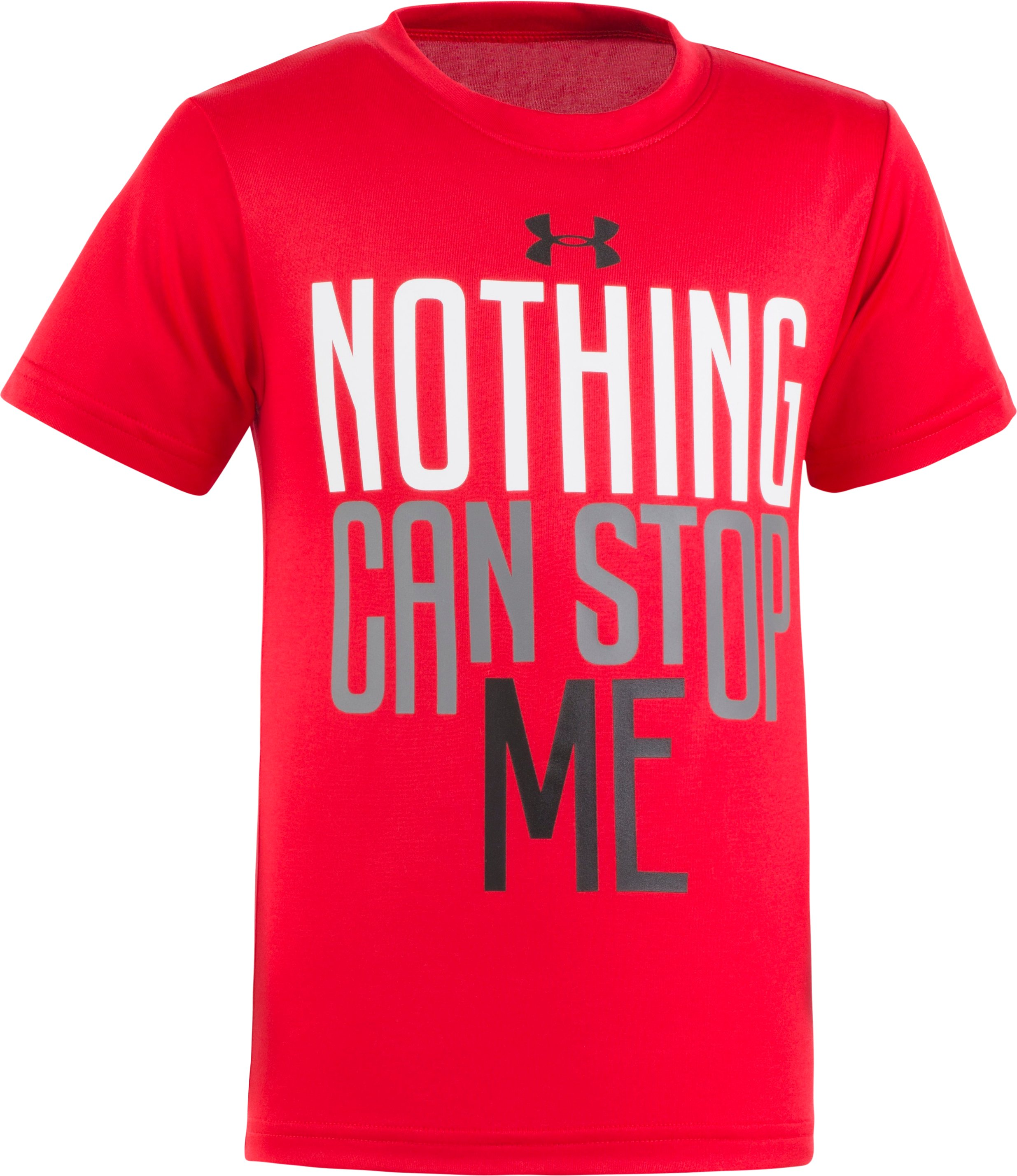 Boys' Pre-School UA Nothing Can Stop Me Short Sleeve, Red, Laydown