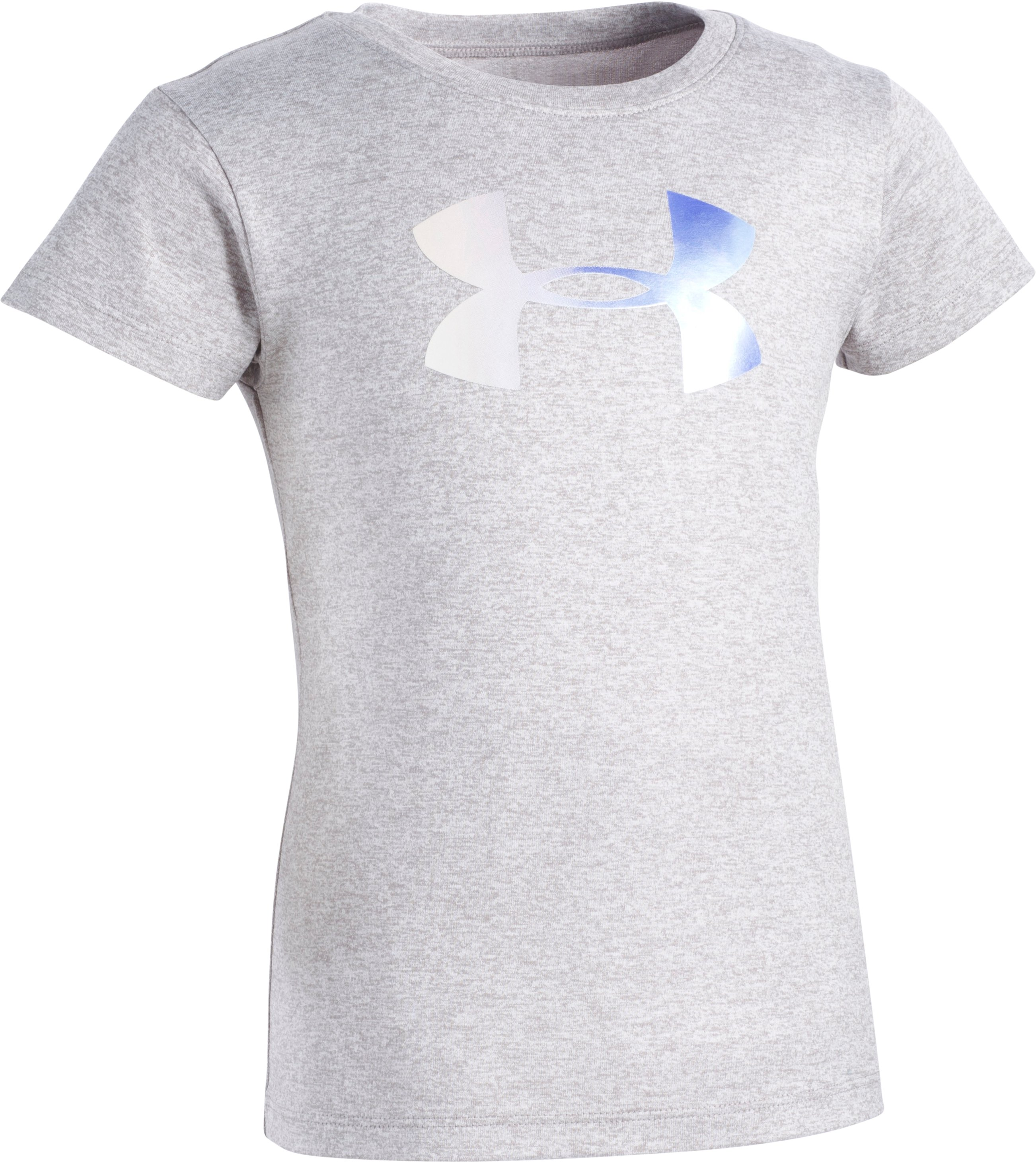 Girls' Pre-School UA Foil Big Logo Short Sleeve T-Shirt, STEEL MEDIUM HEATHER, Laydown