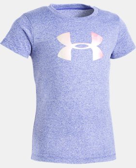 New Arrival Girls' Toddler UA Foil Big Logo Short Sleeve   $17.99