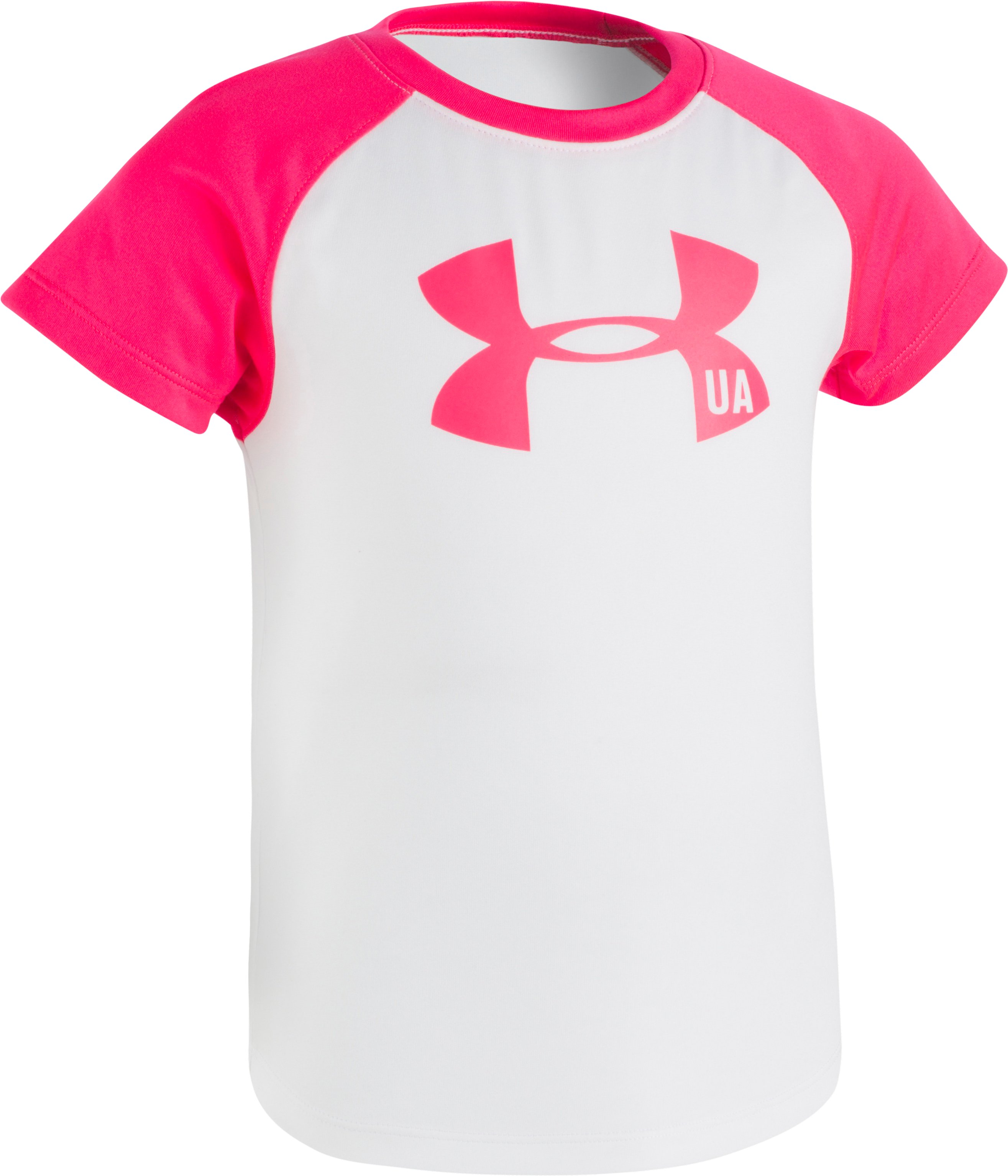 Girls' Pre-School UA Big Logo Raglan Short Sleeve Shirt, White, Laydown