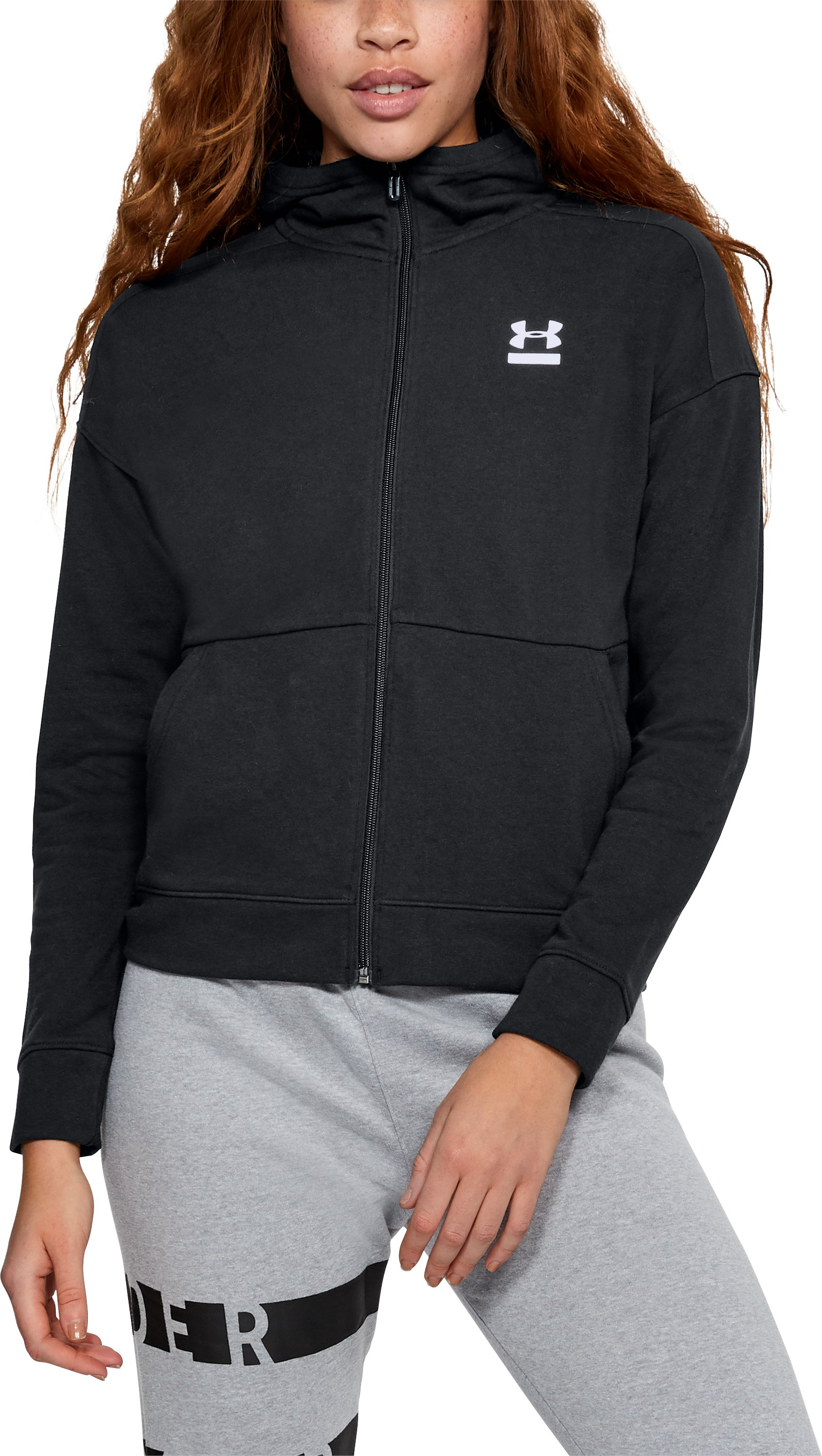 Women's UA Microthread Terry Full Zip Hoodie, Black ,