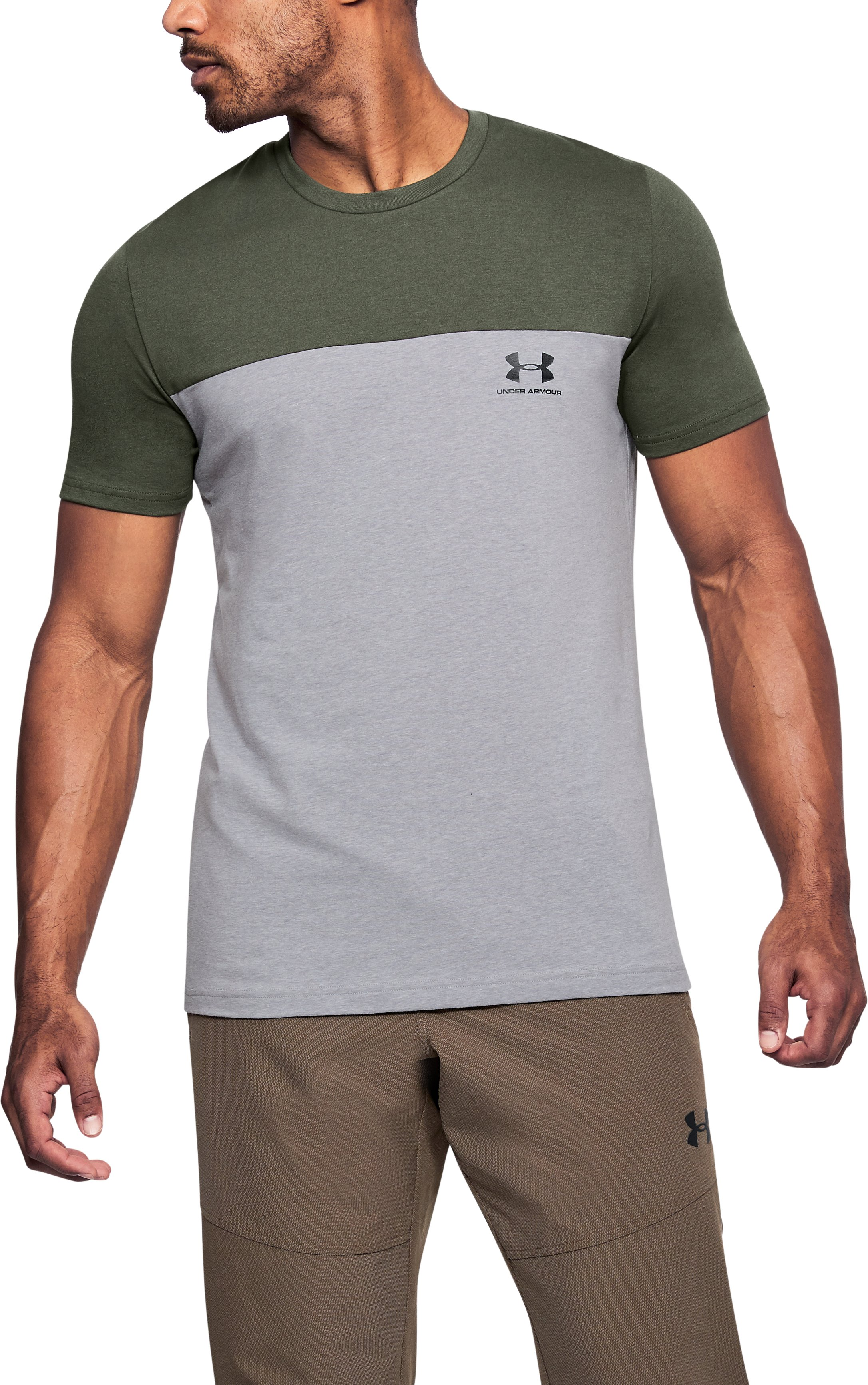 Men's UA Sportstyle Colorblock T-Shirt, DOWNTOWN GREEN, undefined