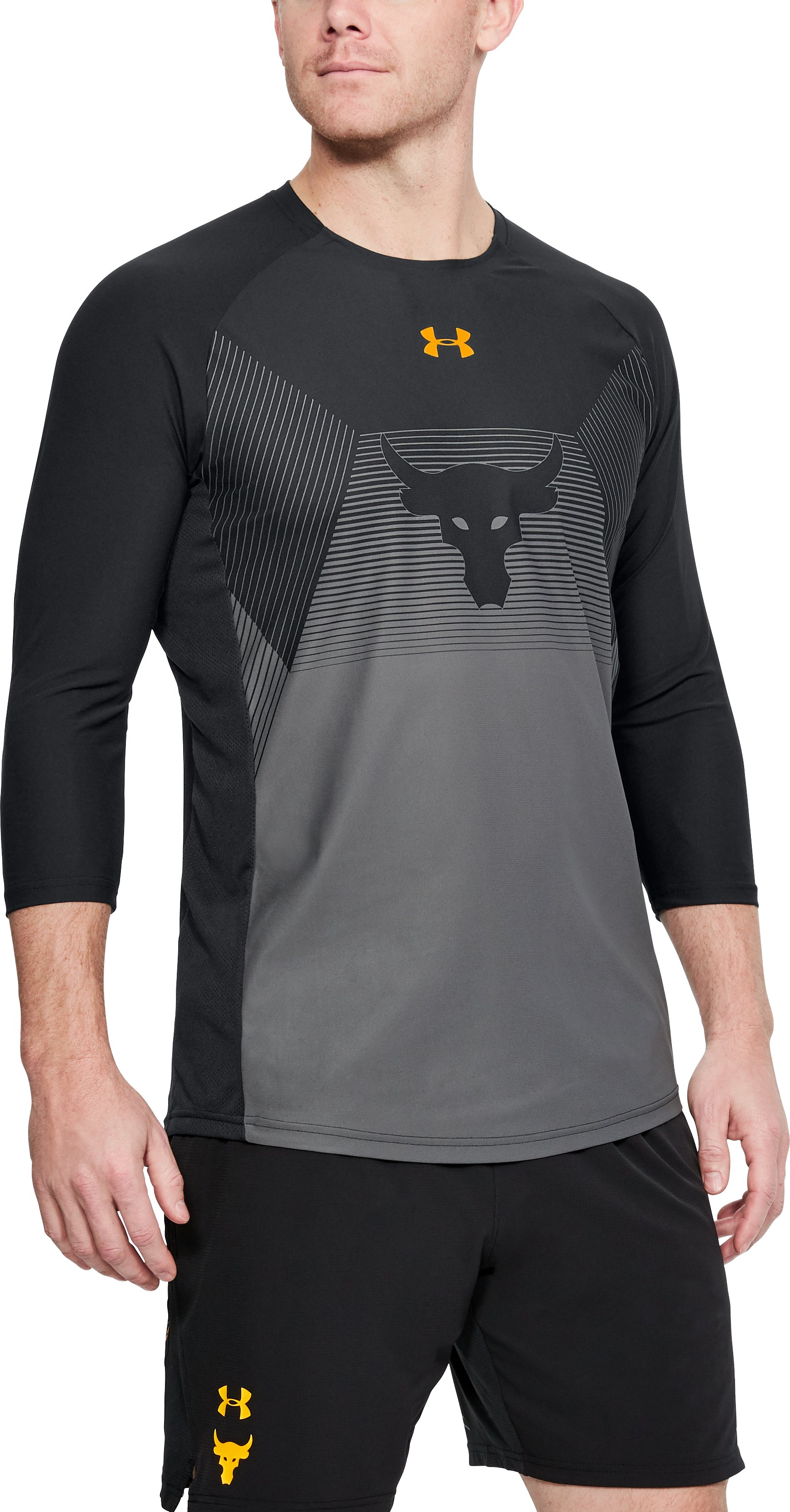 Men's UA x Project Rock Vanish ¾ Sleeve, Black
