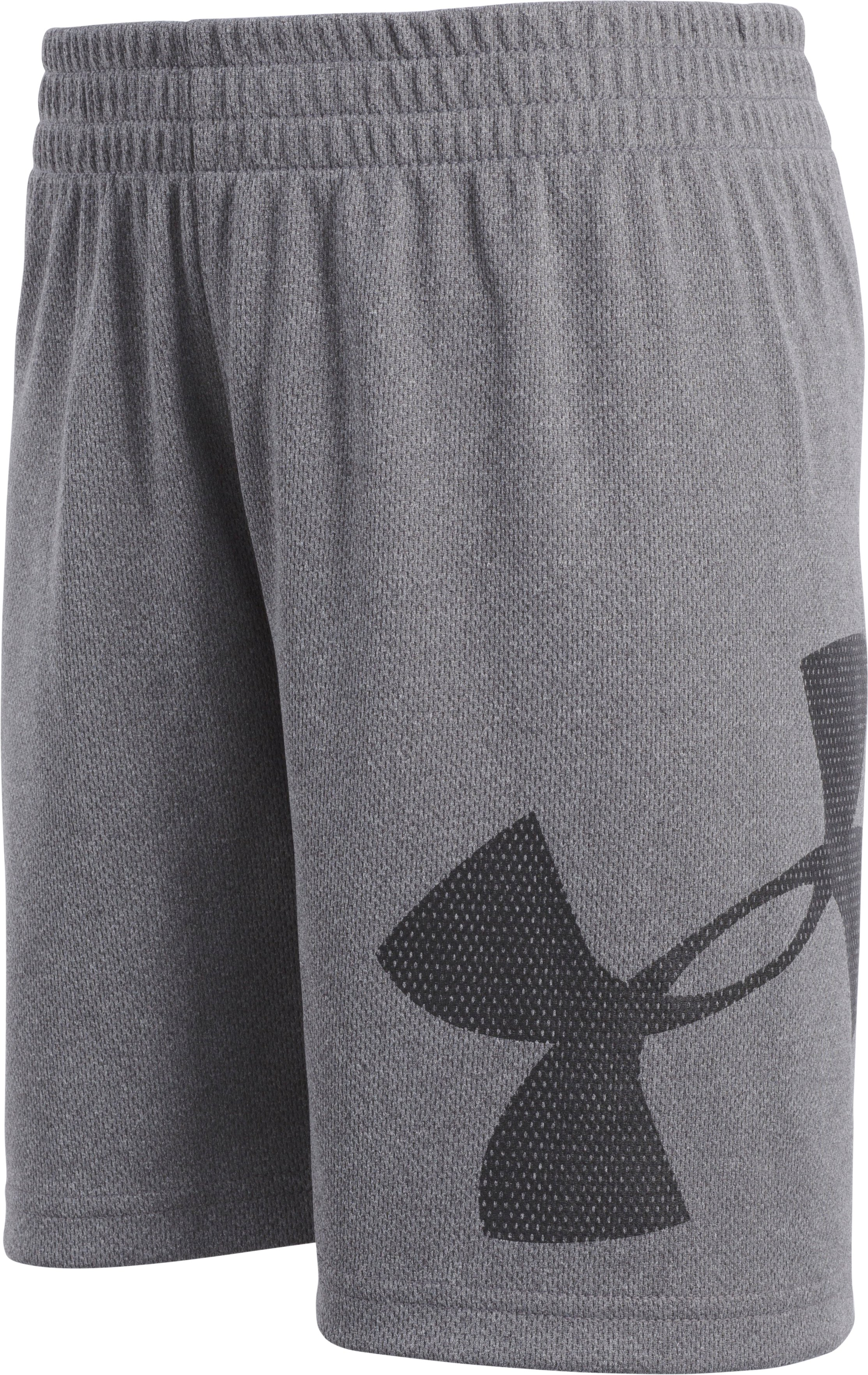 Boys' Pre-School UA Zoom Striker Shorts, Charcoal Medium Heather, Laydown