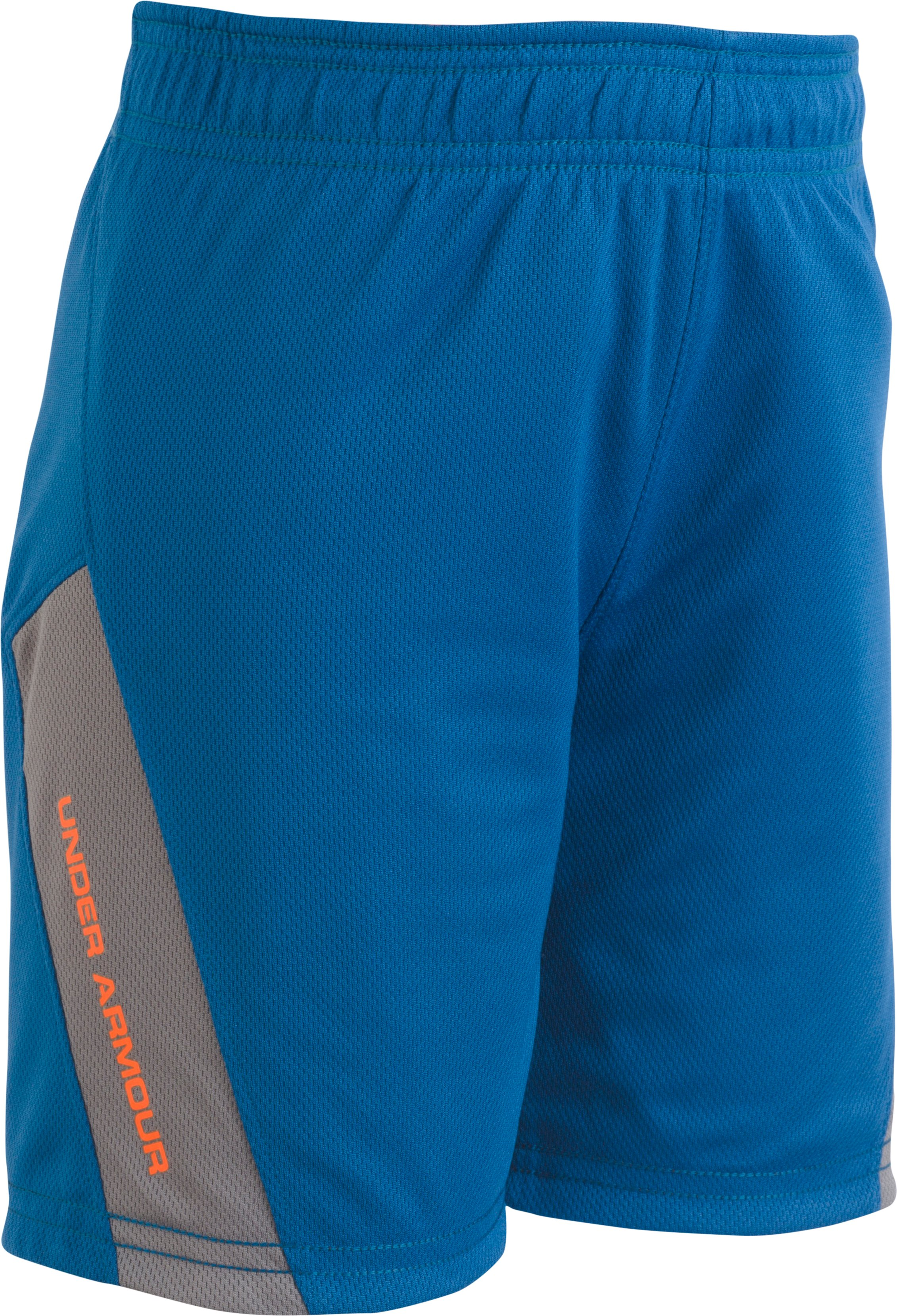Boys' Pre-School UA Reversible Shorts, Moroccan Blue, Laydown