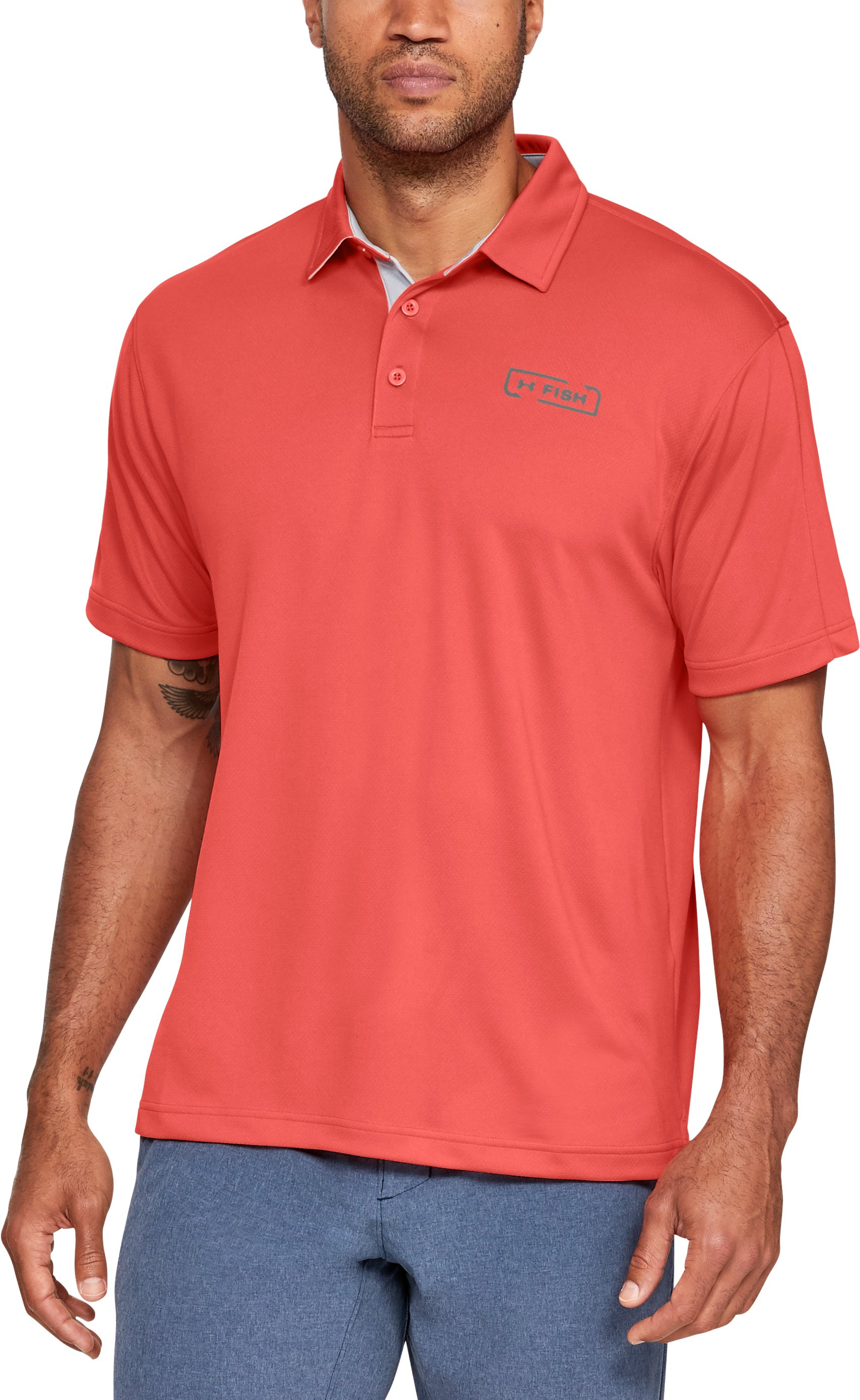 Men's UA Fish Tech Polo, Vermilion,