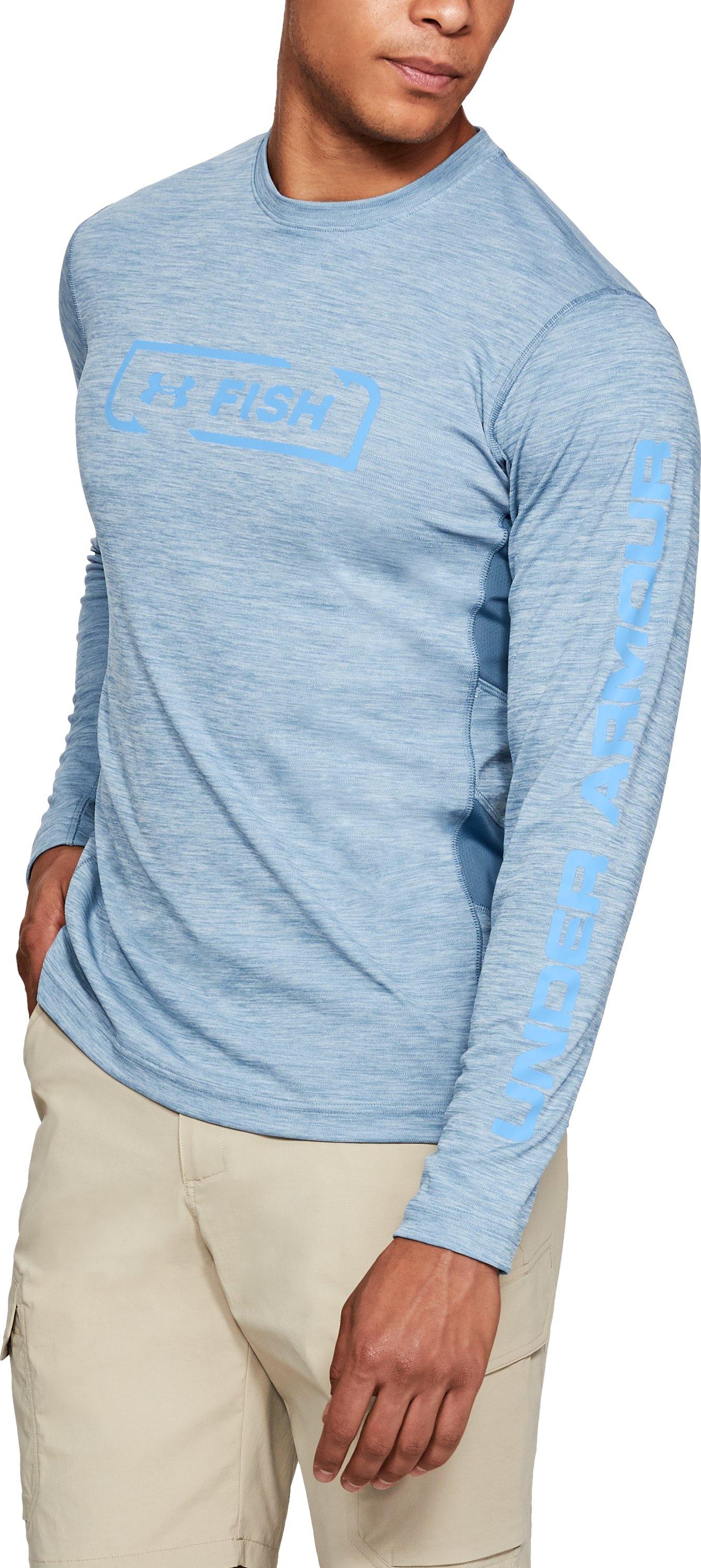 Men's UA Fish Hunter Icon Long Sleeve, BASS BLUE LIGHT HEATHER