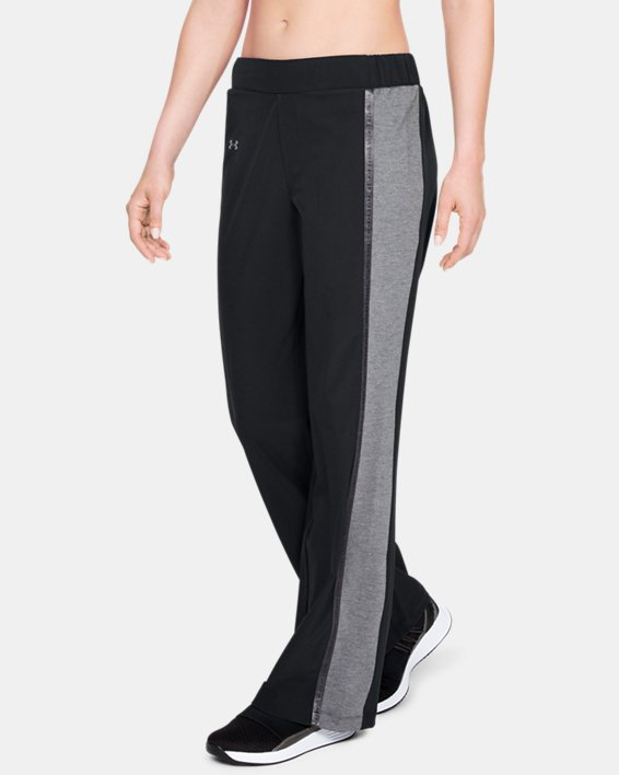 Women's UA Woven Wide Leg Pants, Black, pdpMainDesktop image number 0