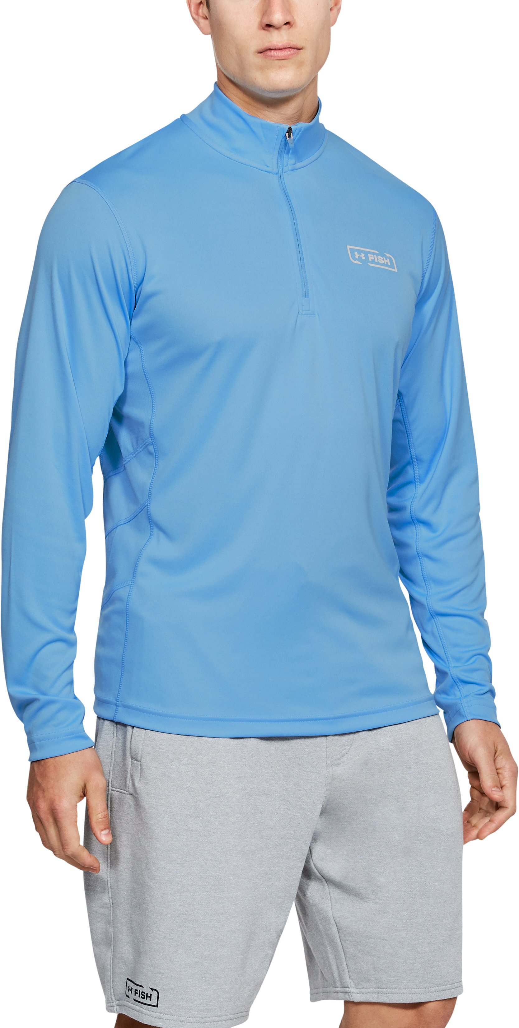 Men's UA Fish Hunter Tech ¼ Zip, Carolina Blue