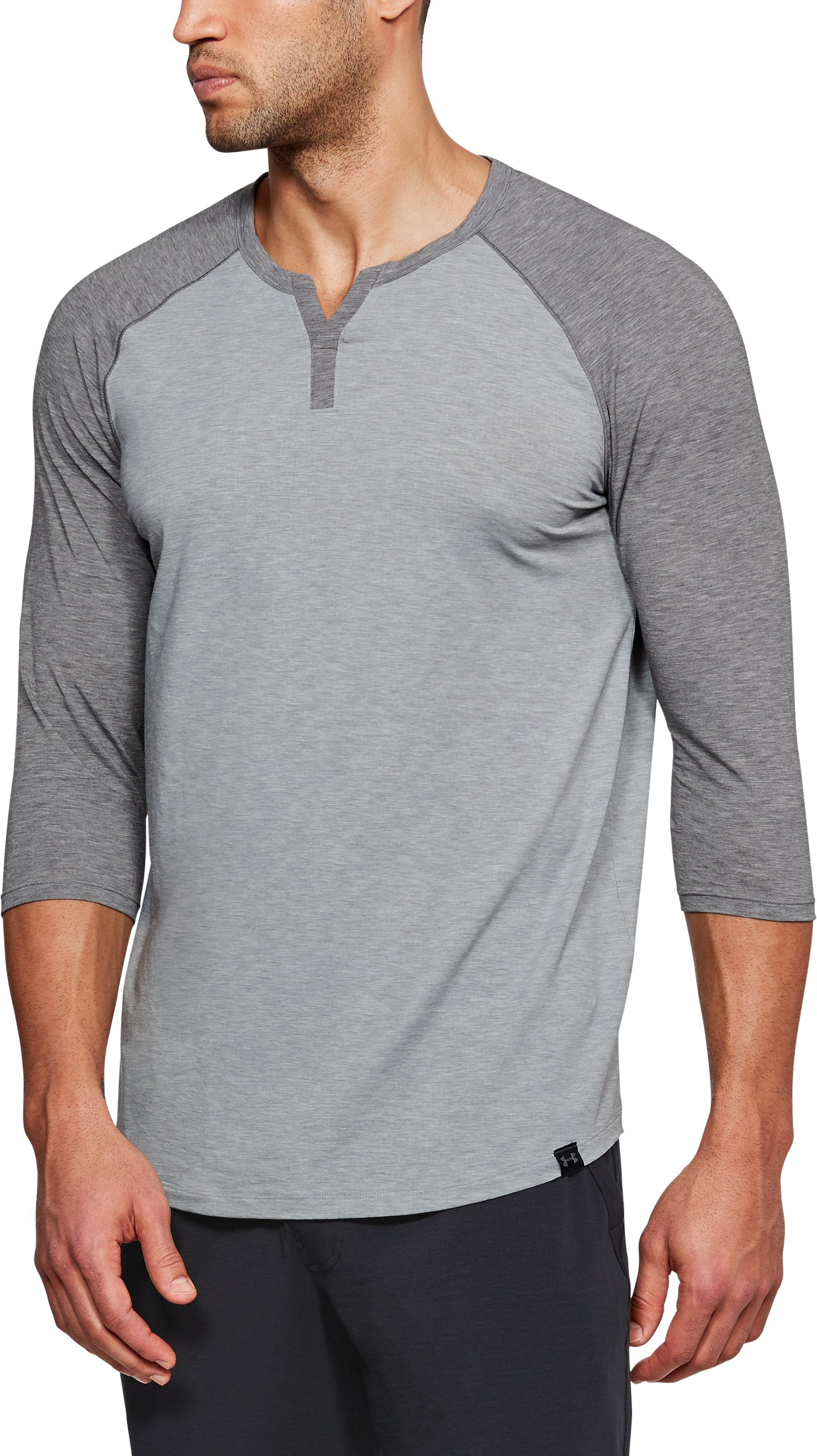 Men's Athlete Recovery Sleepwear Henley, STEEL FADE HEATHER