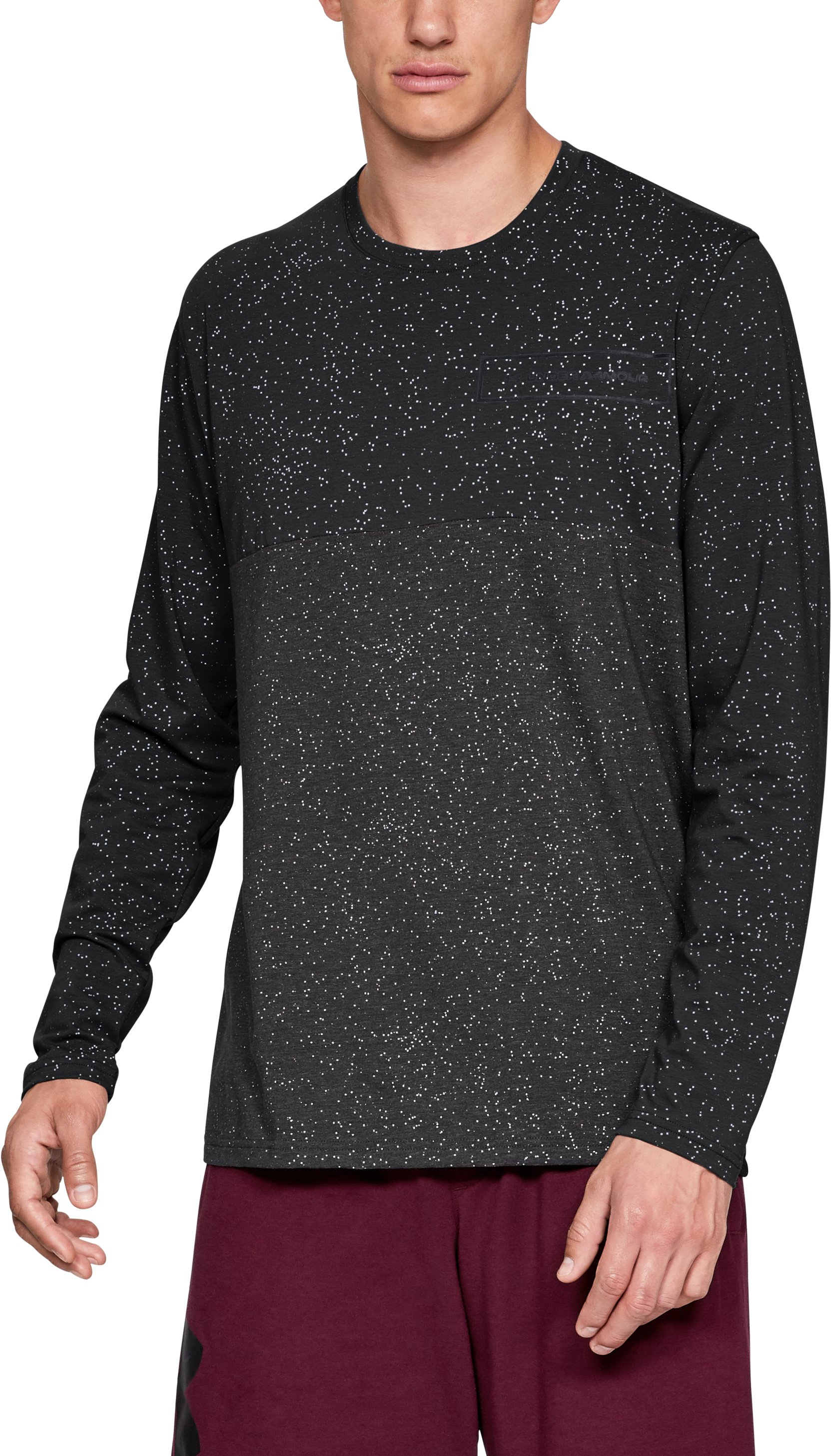 Men's UA Sporstyle Glitch Pattern Long Sleeve, Black , zoomed