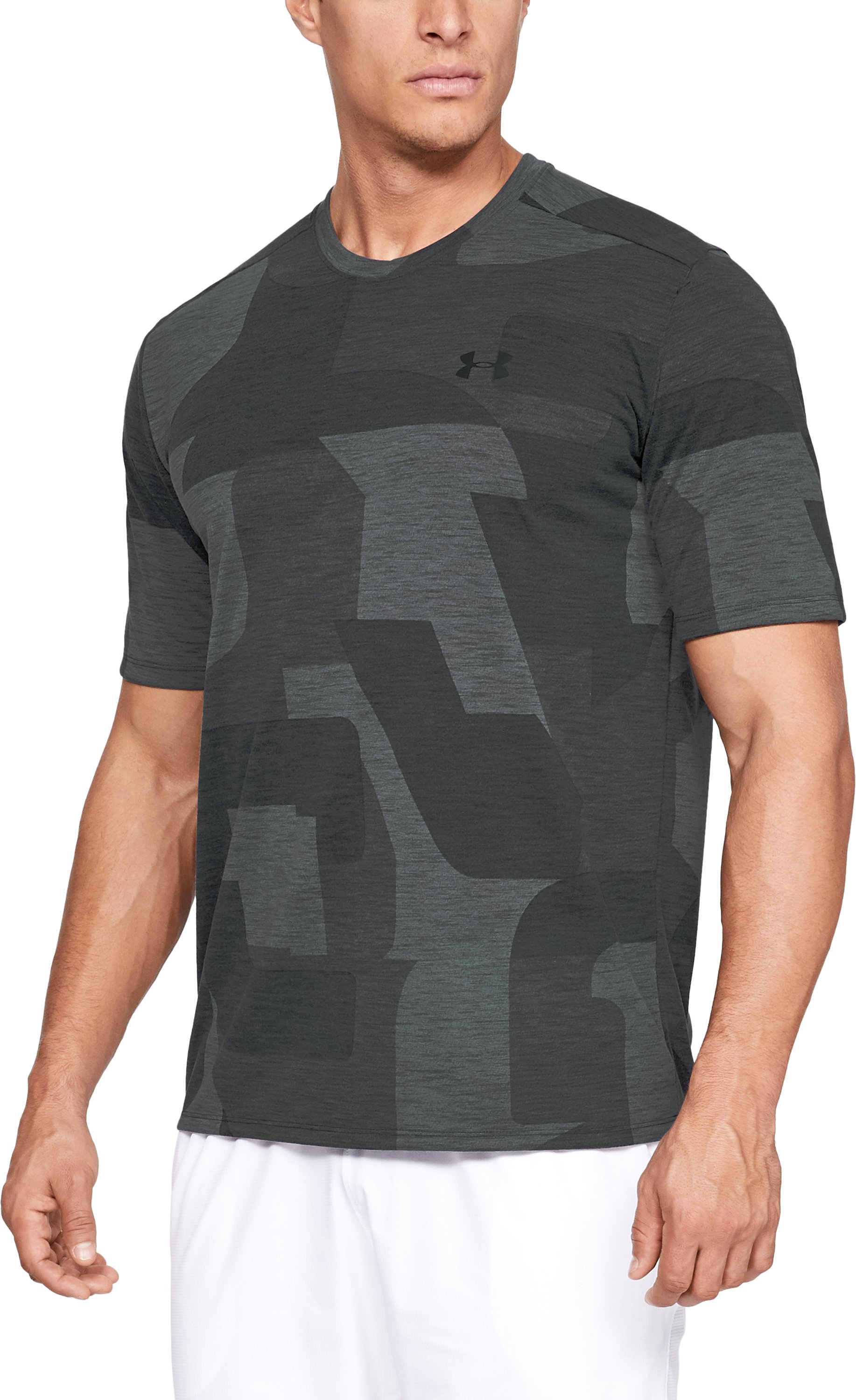 UA Threadborne Print SS, Black , zoomed