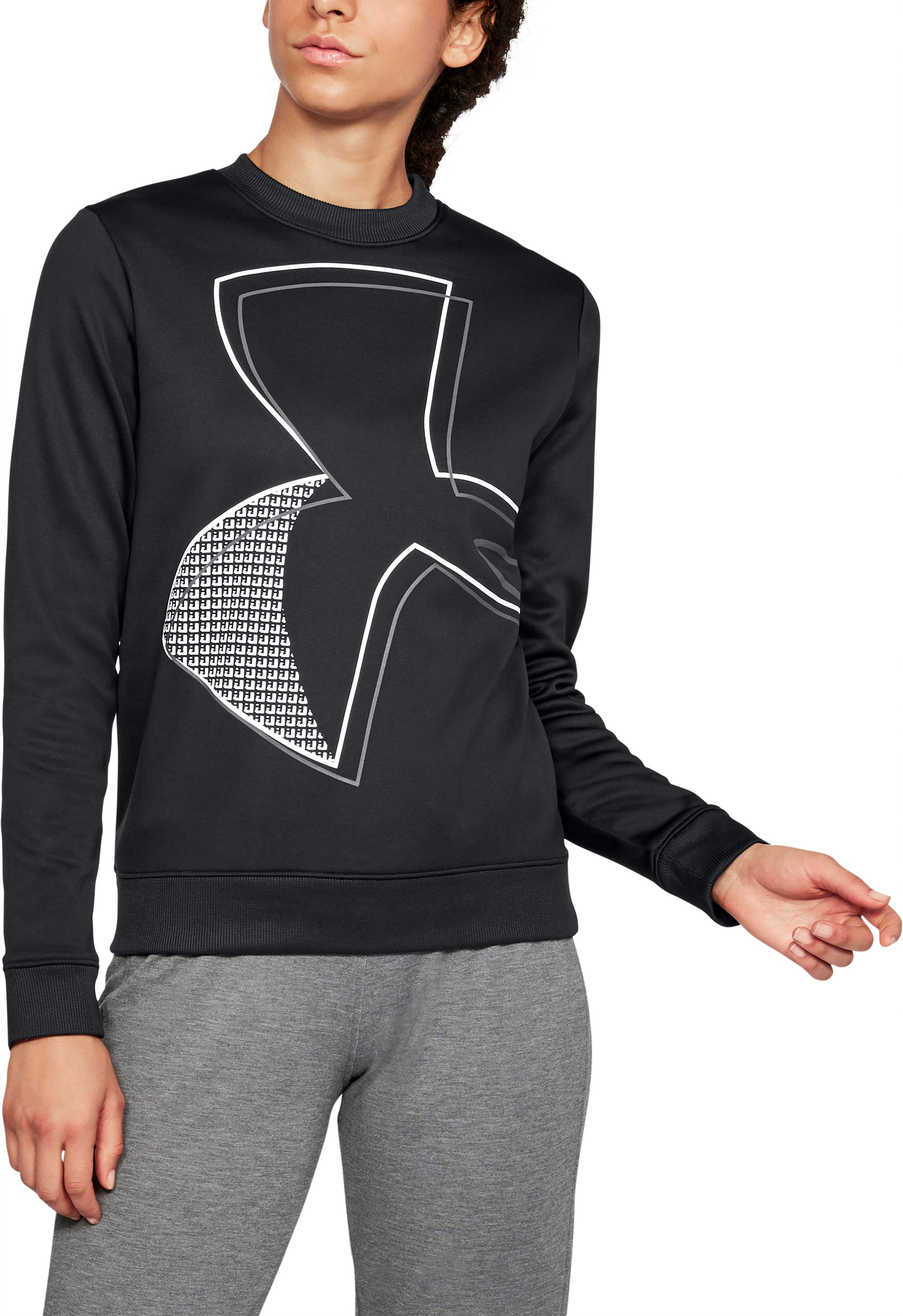 Women's  Armour Fleece® Crew- Exploded Logo, Black