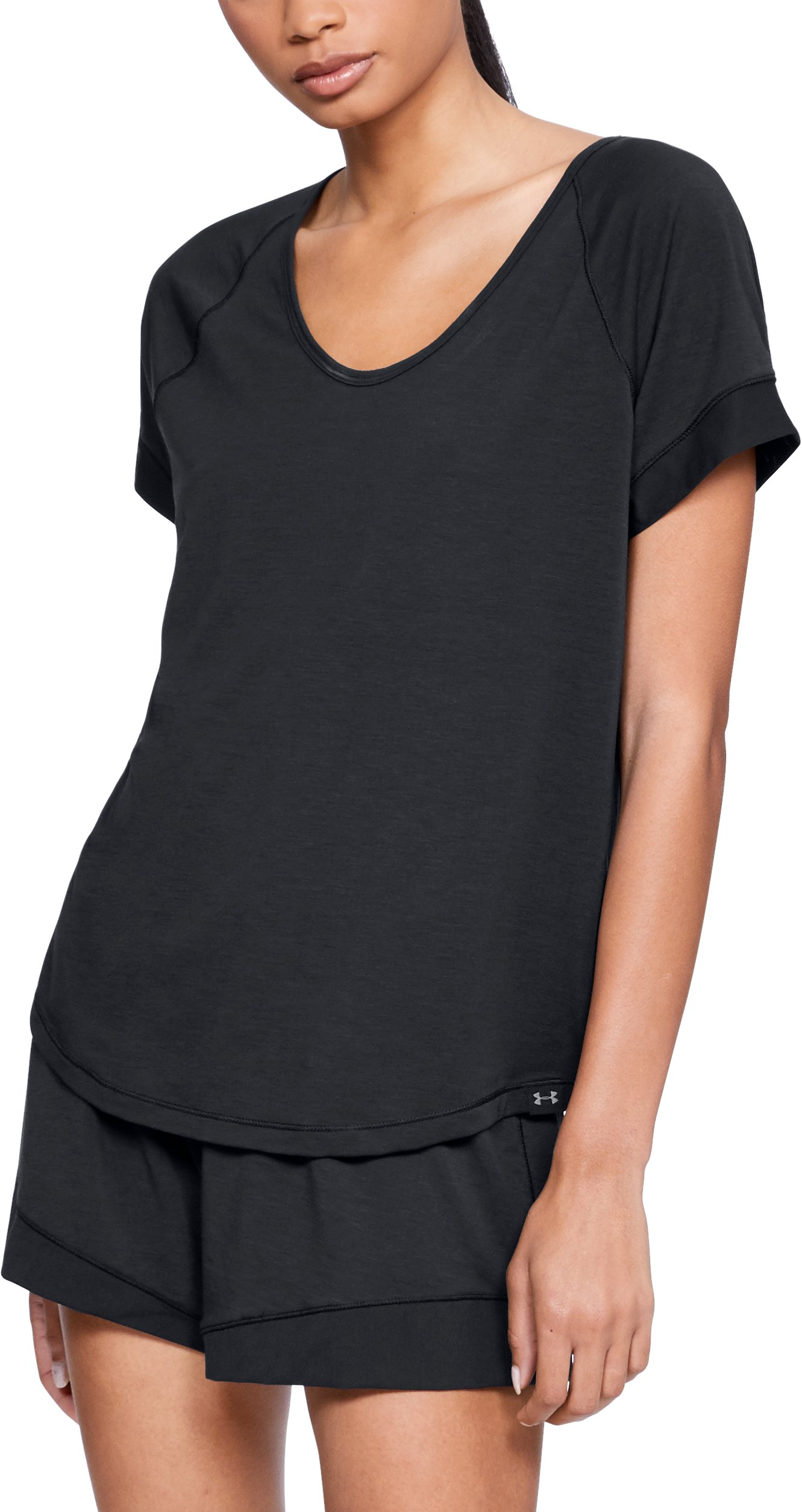 Women's Athlete Recovery Sleepwear Short Sleeve, Black ,