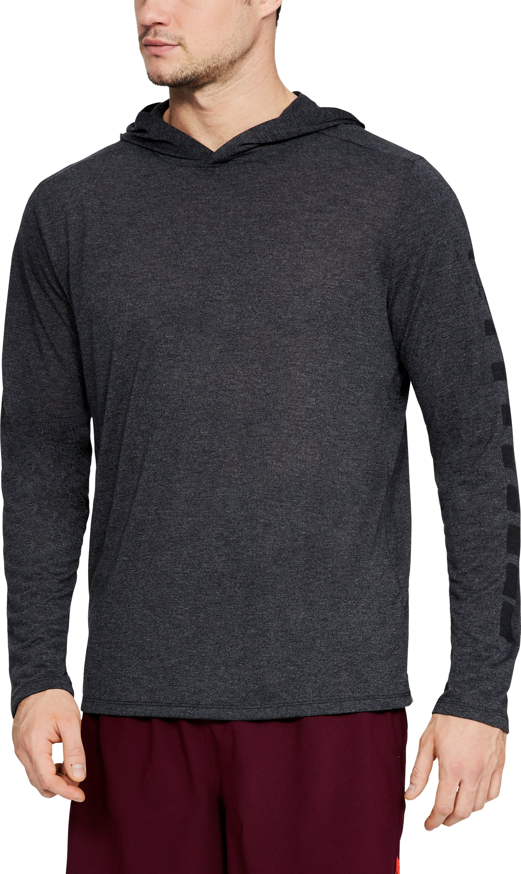 UA THREADBORNE GRPH HOODY, BLACK FULL HEATHER, zoomed