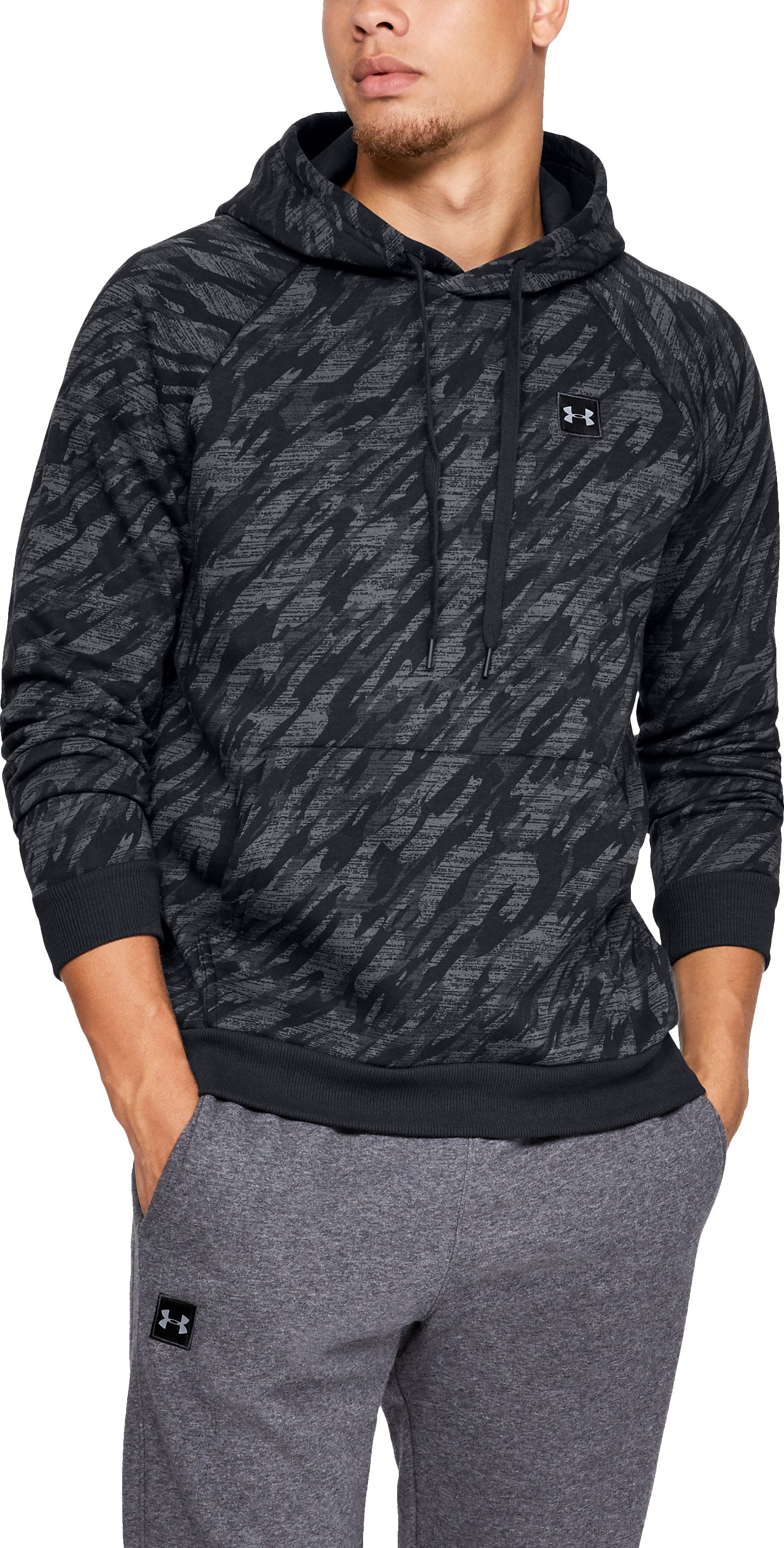 Men's UA Rival Fleece Camo Hoodie, Black ,