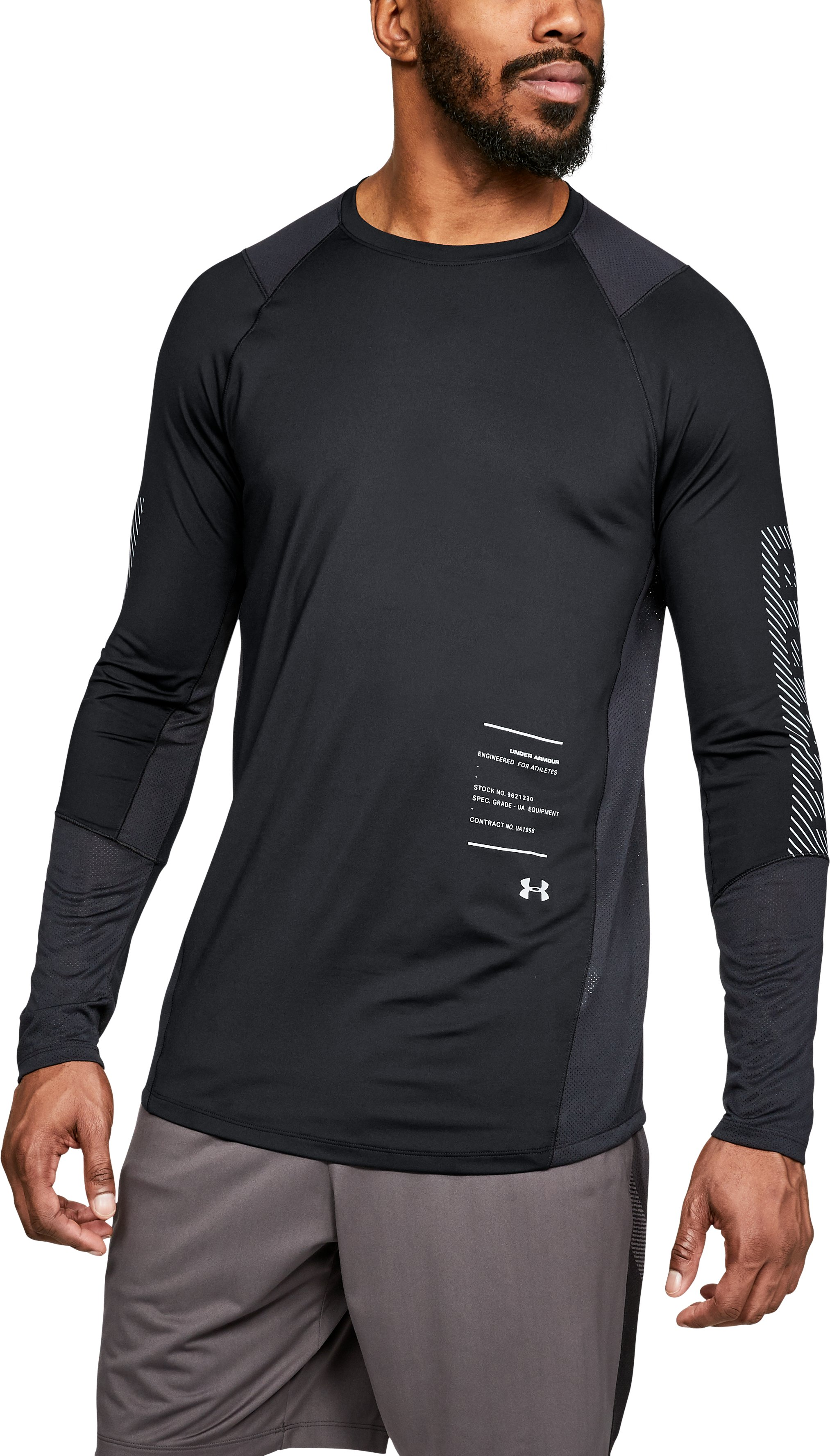 Men's UA MK-1 Graphic Long Sleeve Shirt, Black , zoomed