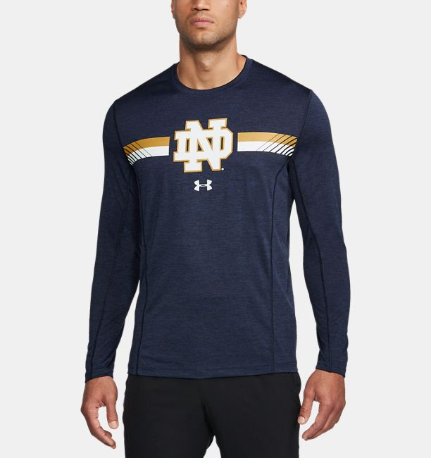 Men S Notre Dame Long Sleeve Training T Shirt Under Armour Us