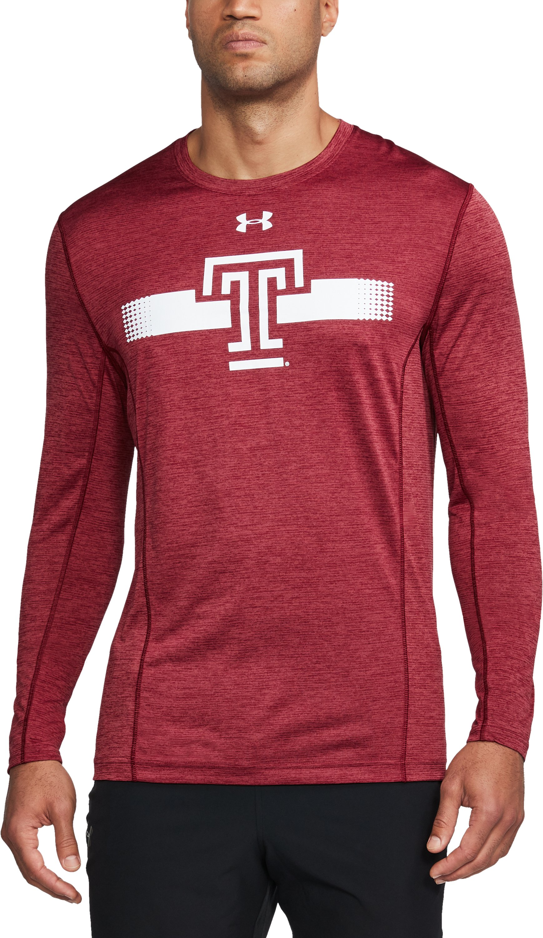 Men's Temple Long Sleeve Training T-Shirt, Cardinal, undefined