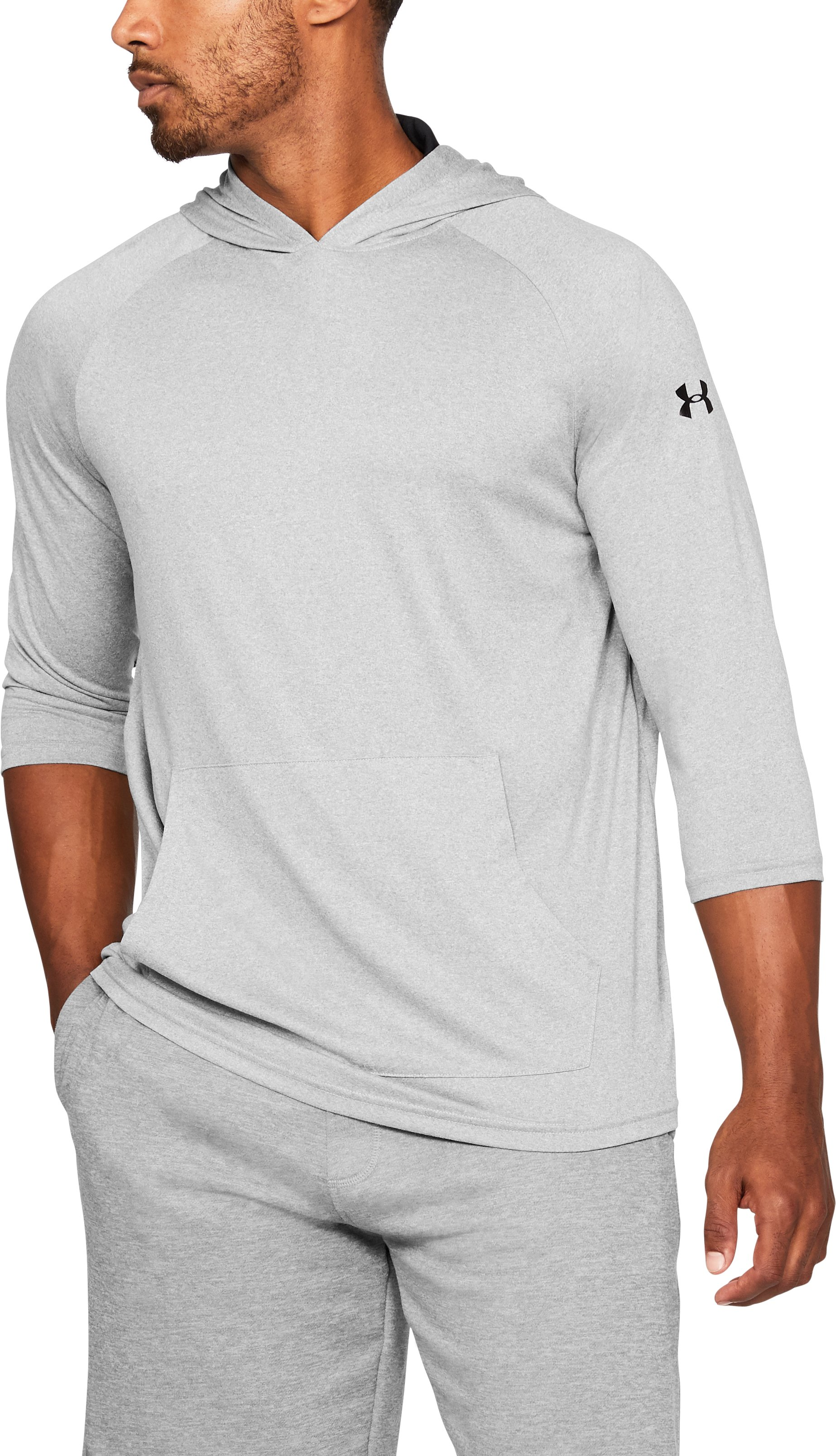 Men's UA Tech™ ¾ Sleeve Hoodie, True Gray Heather, undefined