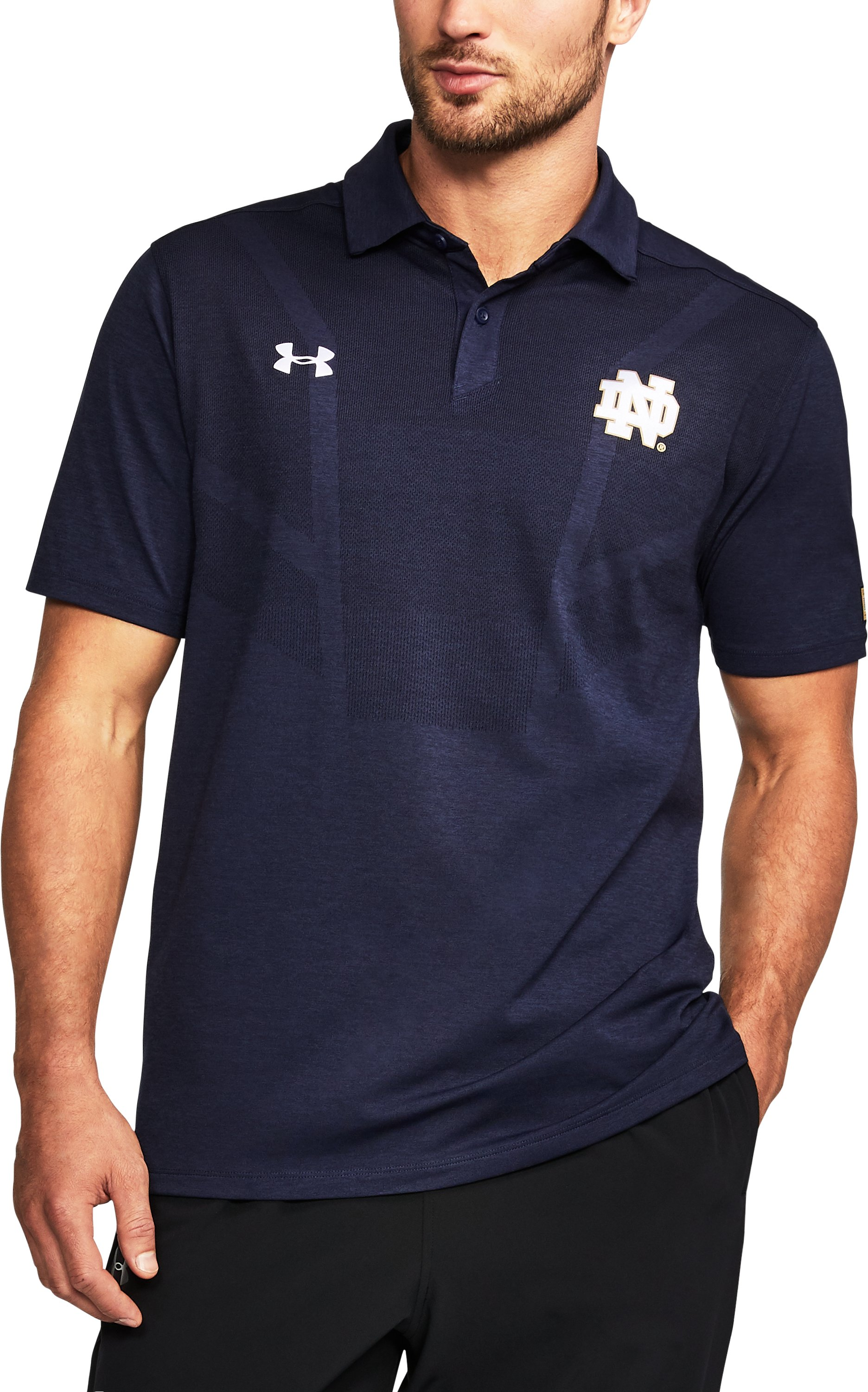 Men's Notre Dame UA Tour Polo, Midnight Navy, undefined
