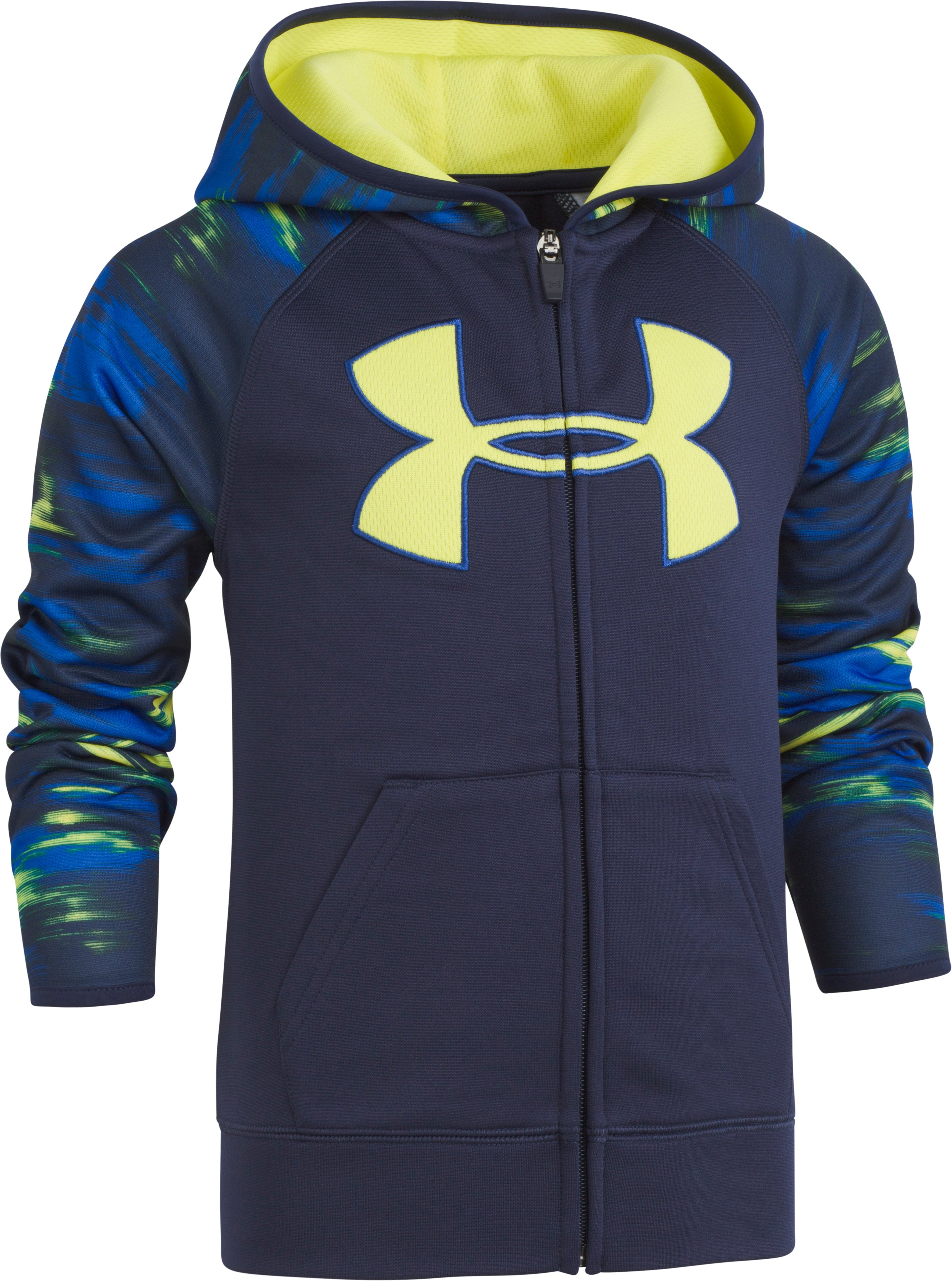 Boys' Toddler UA Accelerate Big Logo Hoodie, Midnight Navy, zoomed