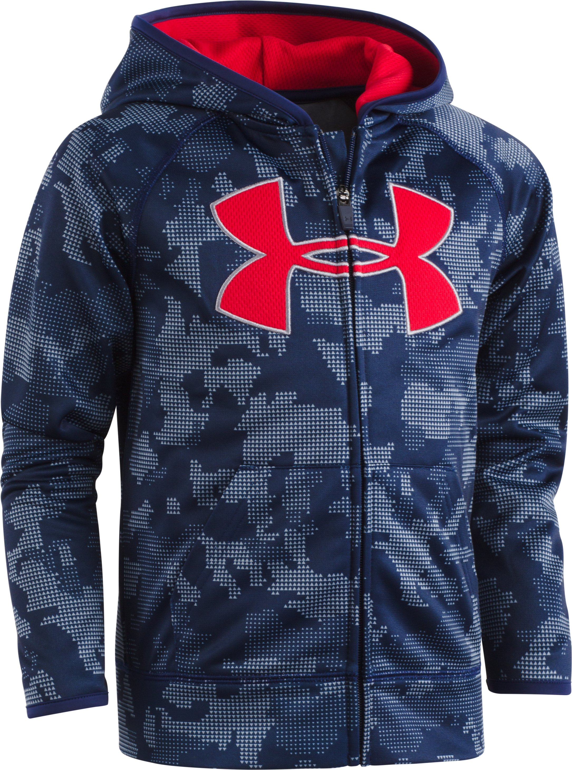 Boys' Pre-School UA Utility Camo Big Logo Hoodie, Midnight Navy, zoomed