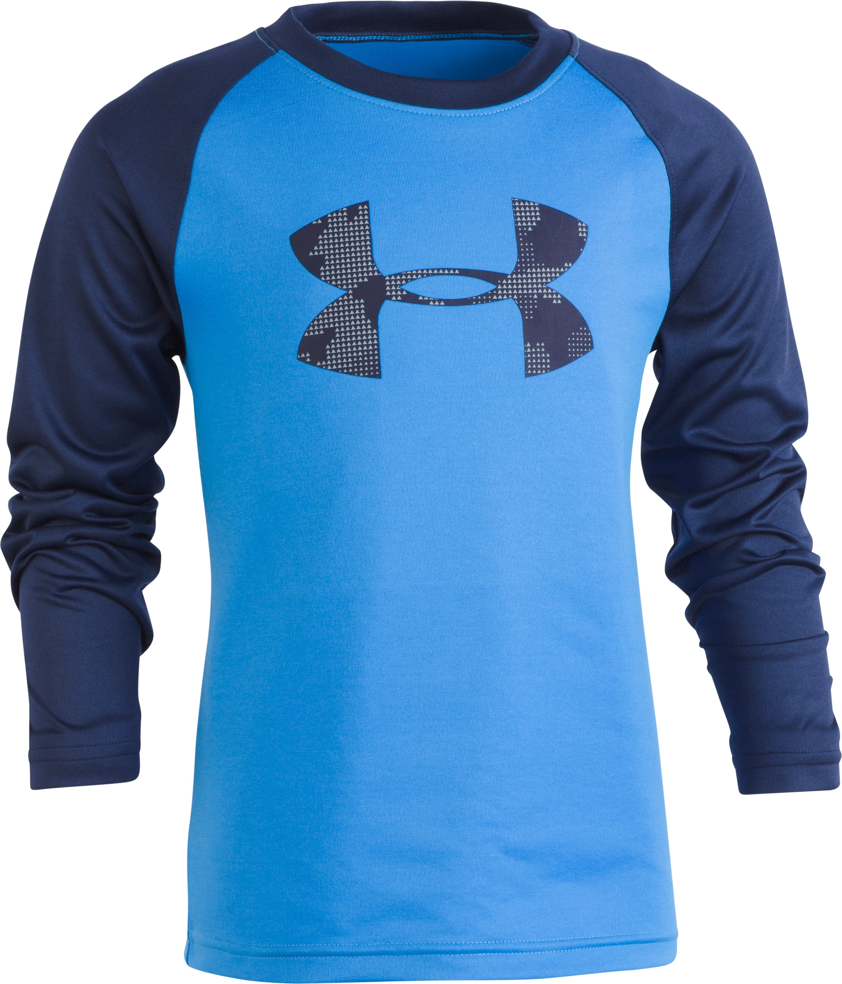 Boys' Pre-School UA Utility Camo Big Logo Long Sleeve, Mako Blue, Laydown