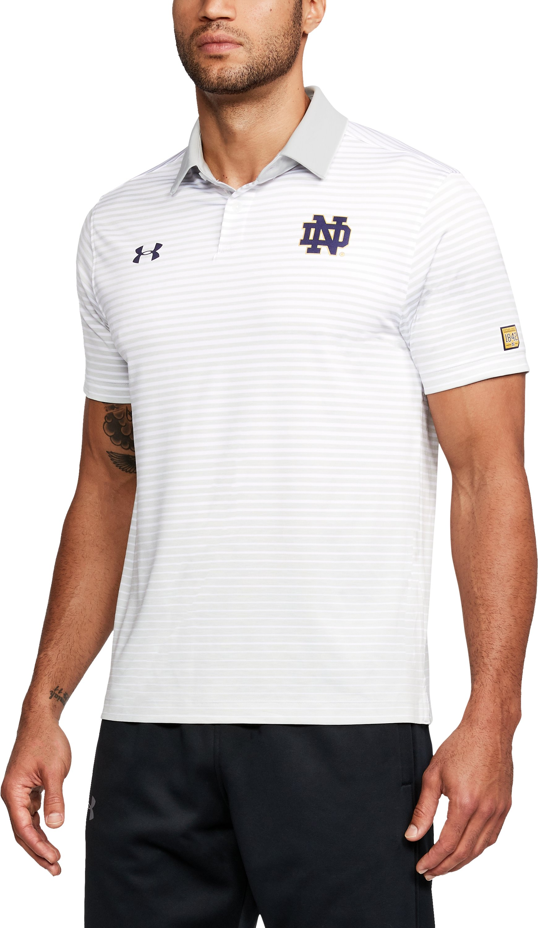 Men's Notre Dame Trajectory Polo, White, undefined