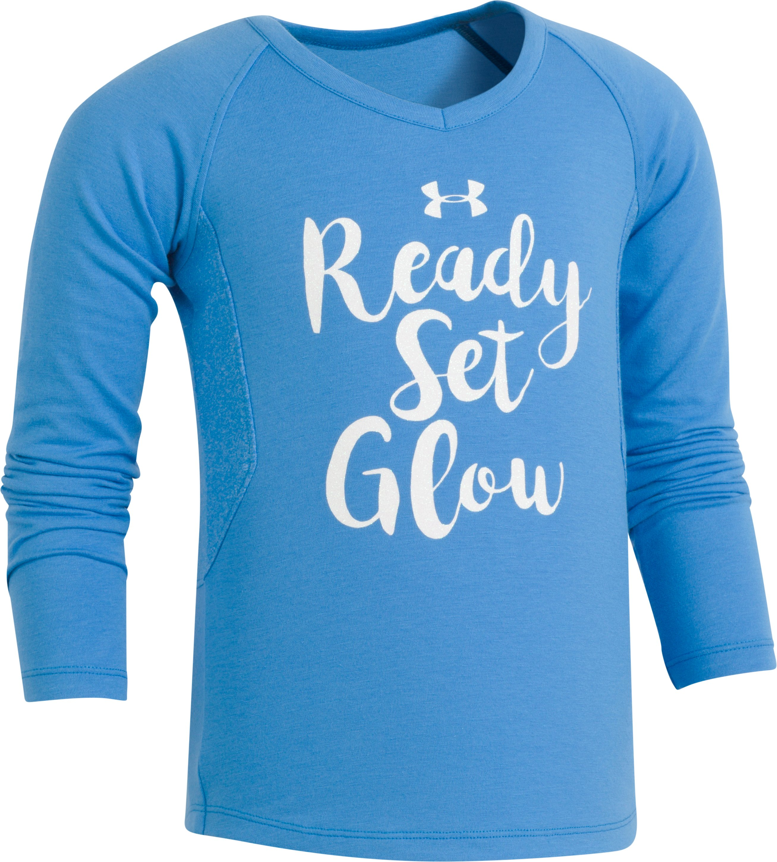 Girls' Pre-School UA Ready Set Glow Long Sleeve, Mako Blue