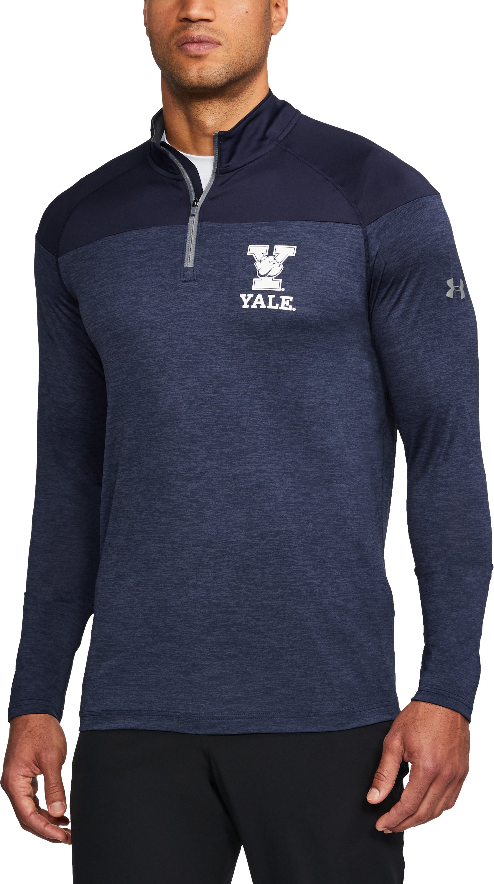Men's Yale Printed ¼ Zip, Midnight Navy,