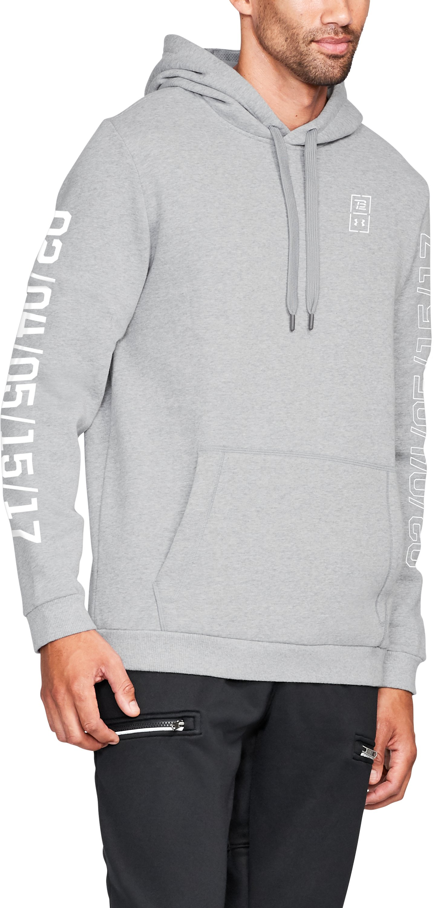 Men's TB12 UA LE Hoodie, STEEL LIGHT HEATHER,