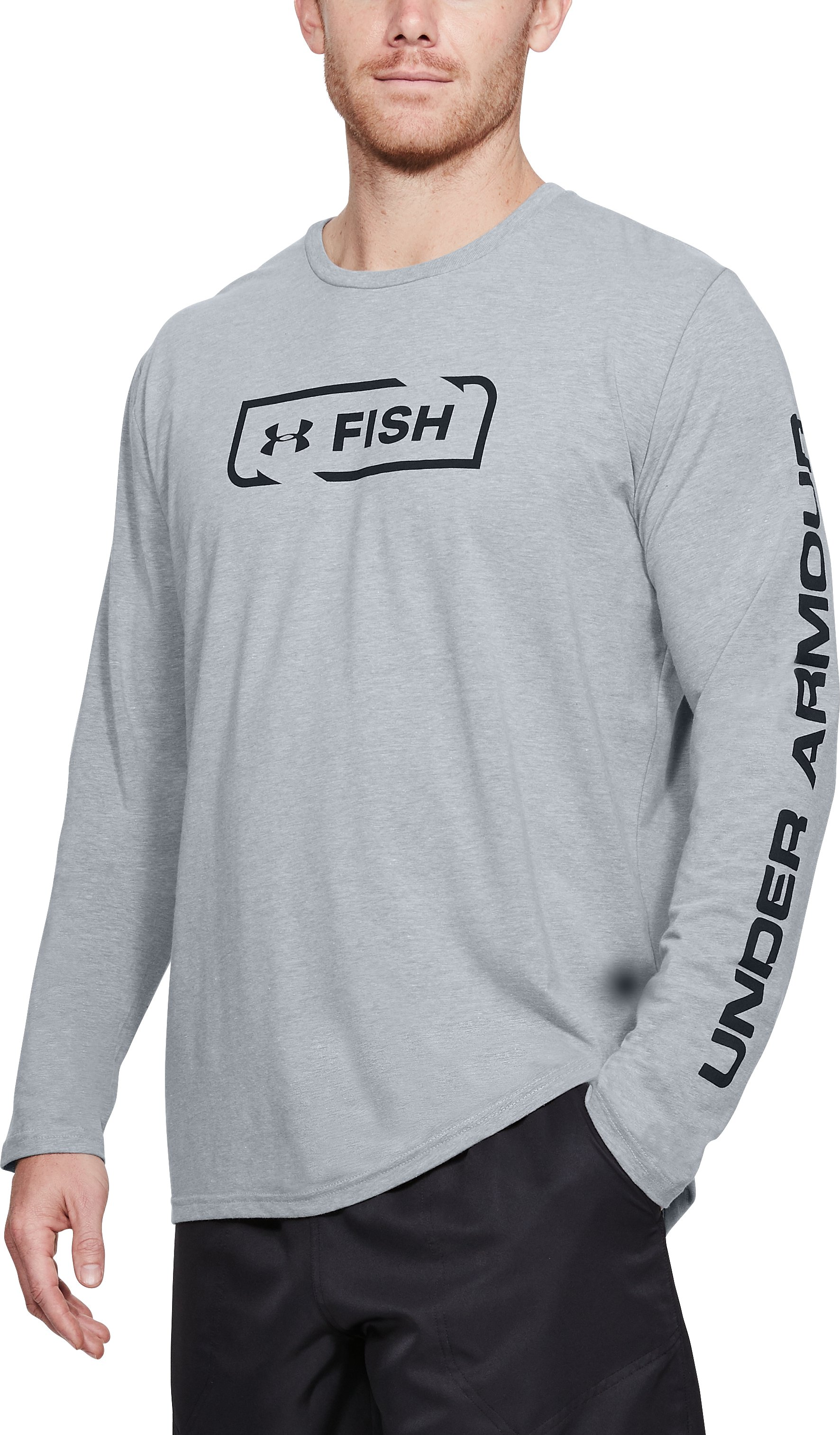 Men's UA Fish Icon Long Sleeve, STEEL LIGHT HEATHER, undefined