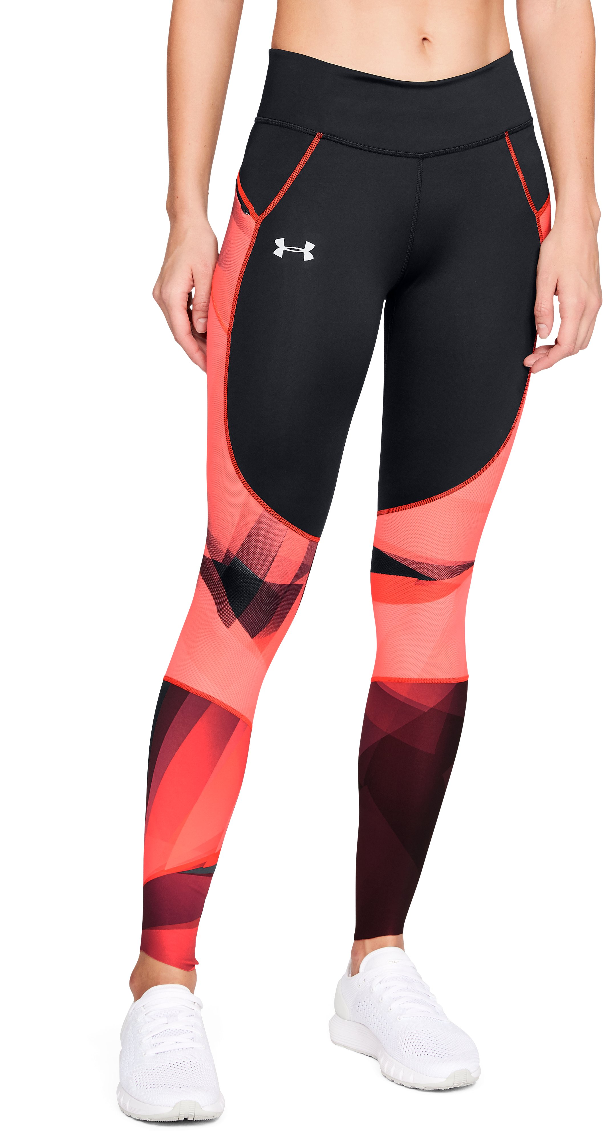 Women's UA SpeedPocket Run Printed Tights, Black ,