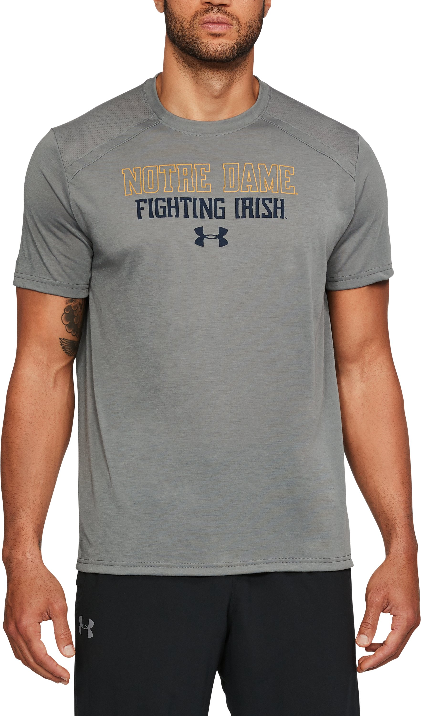 Men's Notre Dame UA Threadborne™ Vented T-Shirt, Graphite, undefined