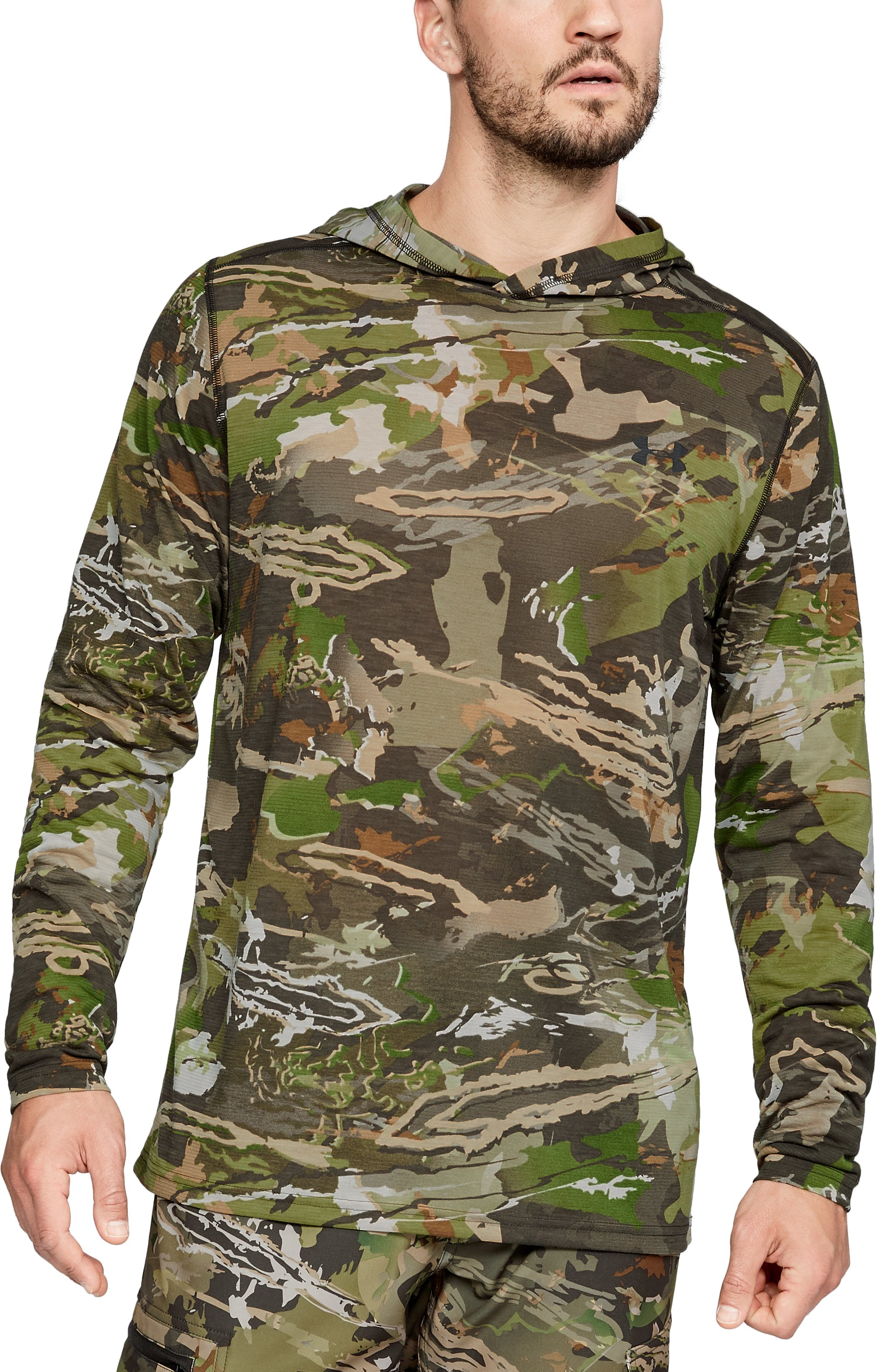 Men's UA Microthread Early Season Base Hoodie, UA Forest Camo,