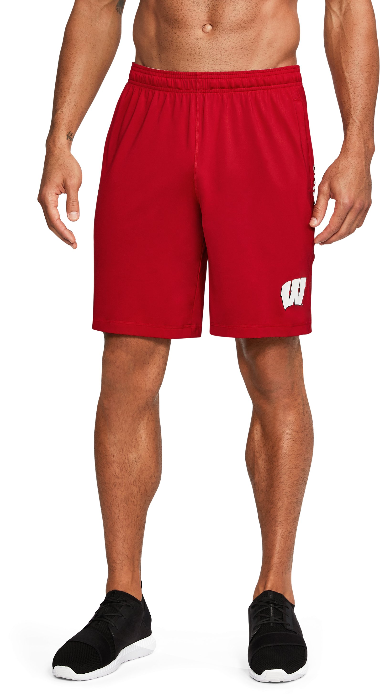 Men's Wisconsin UA Raid Training Shorts, Flawless,