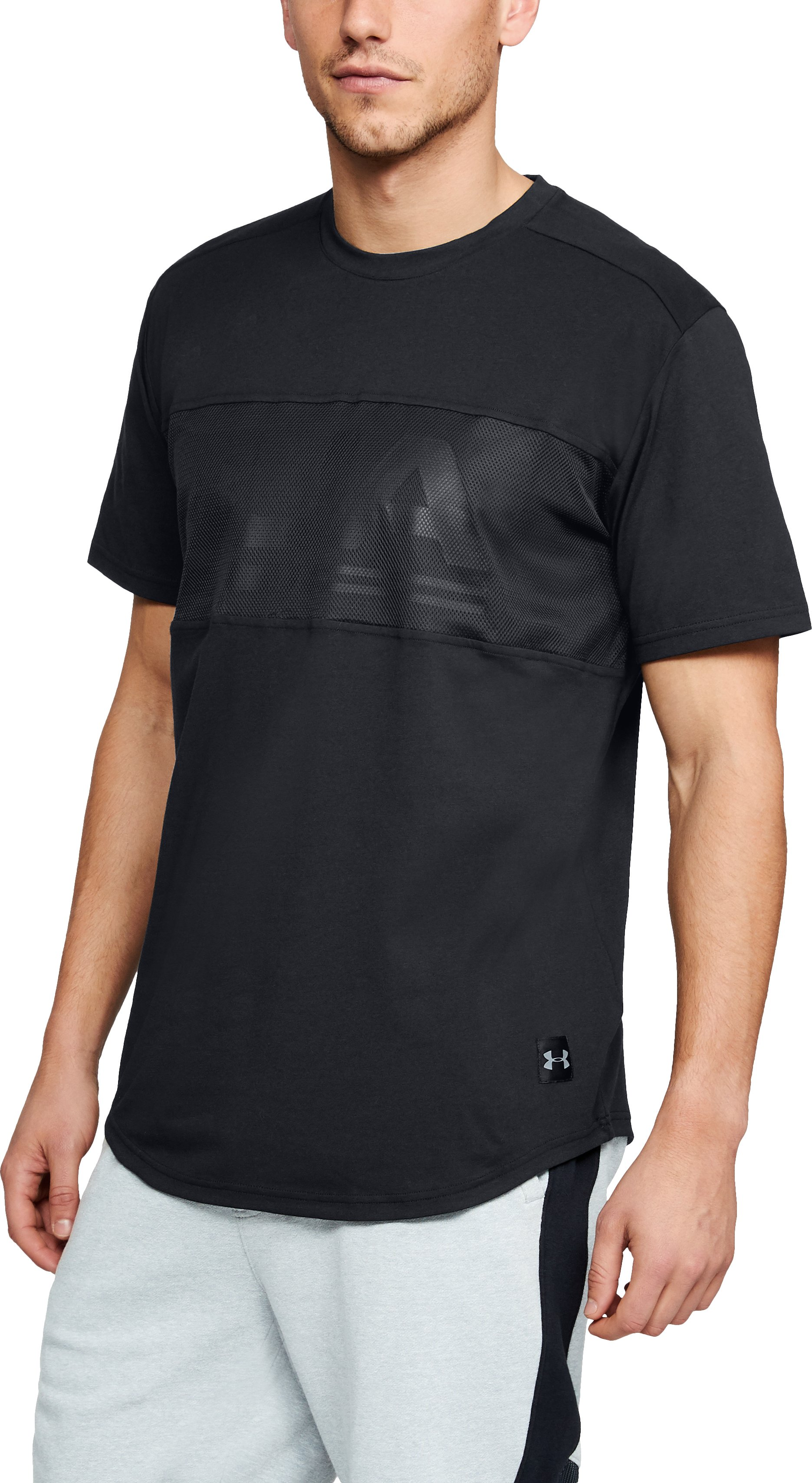 UNSTOPPABLE GRAPHIC MESH SS T, Black , zoomed