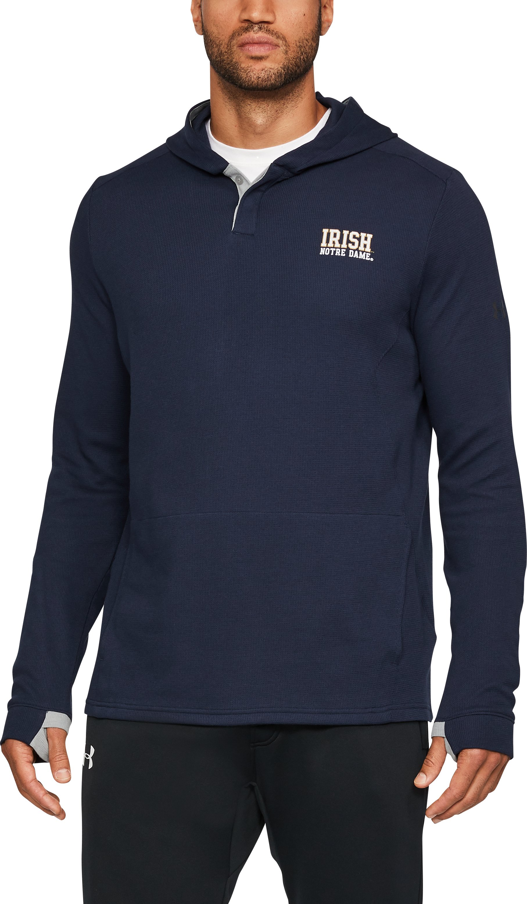 Men's Notre Dame Waffle Hoodie, Midnight Navy