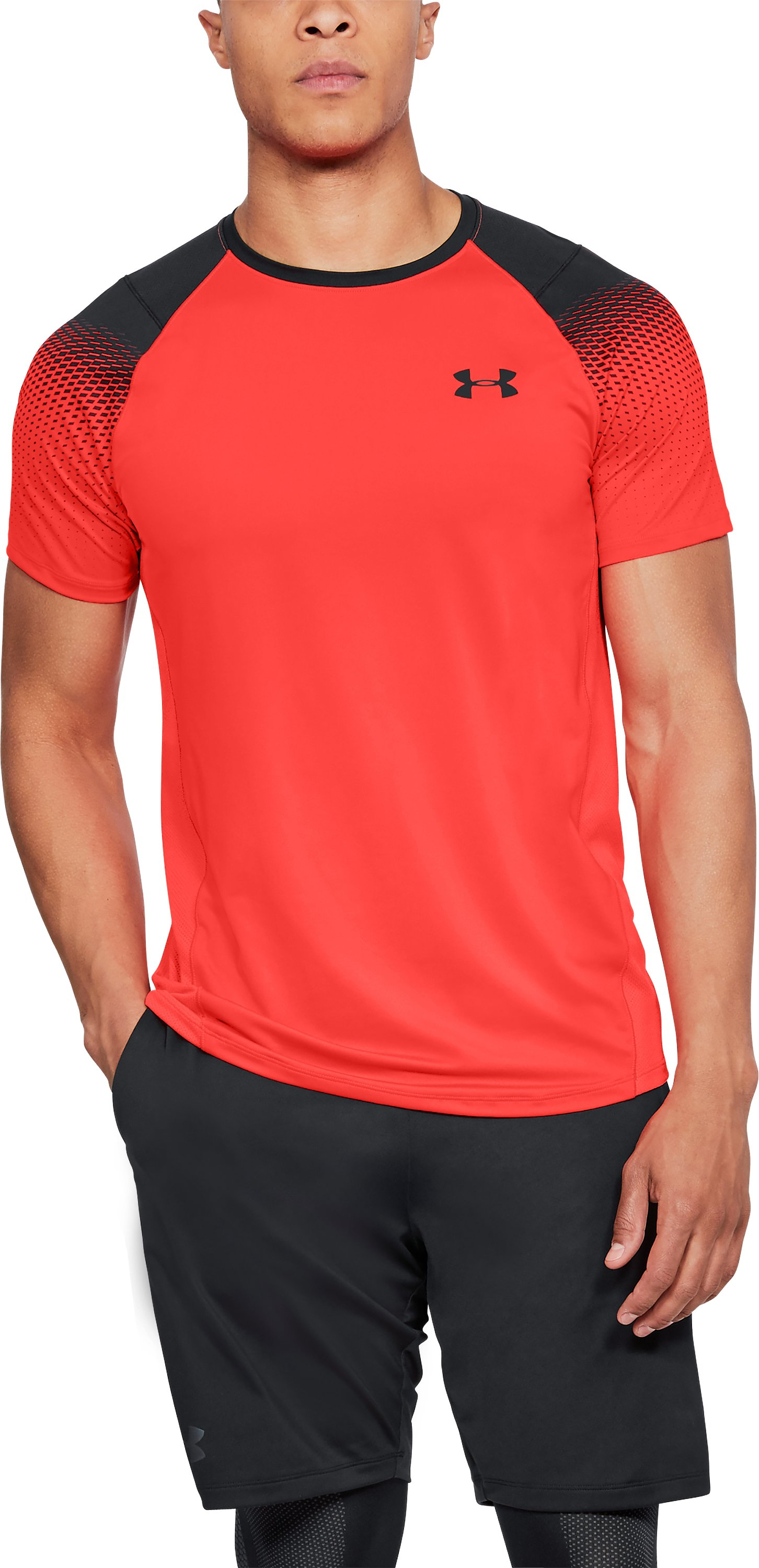 Men's UA MK-1 Dash Printed Left Chest Short Sleeve, NEON CORAL