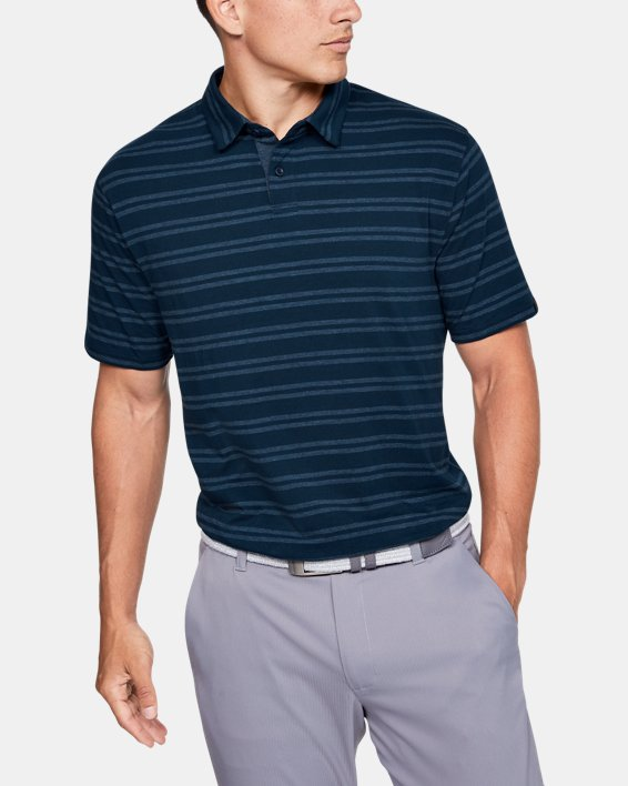 Men's UA Charged Cotton® Scramble Stripe Polo, Navy, pdpMainDesktop image number 0