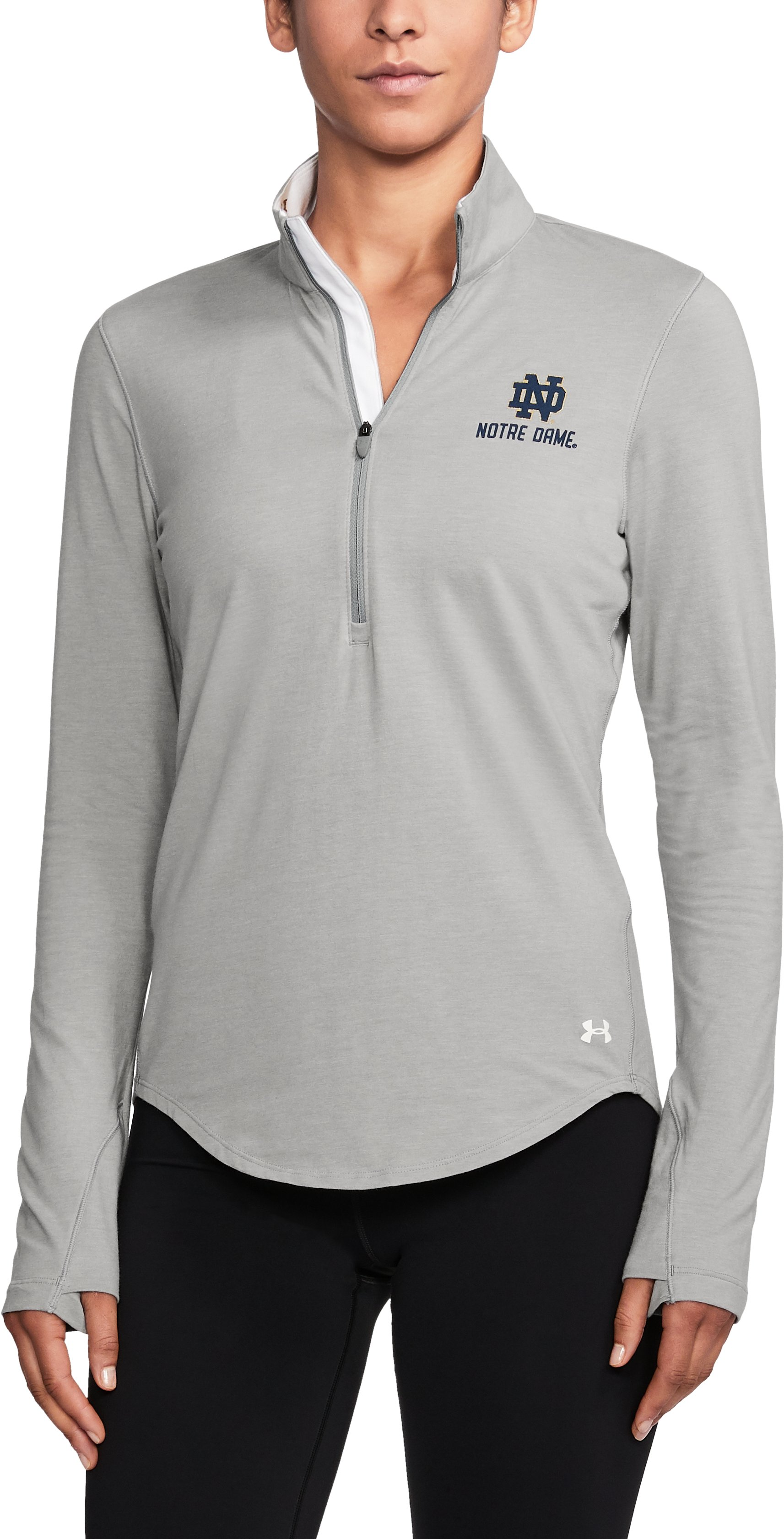 Women's Notre Dame Charged Cotton® ¼ Zip, True Gray Heather,