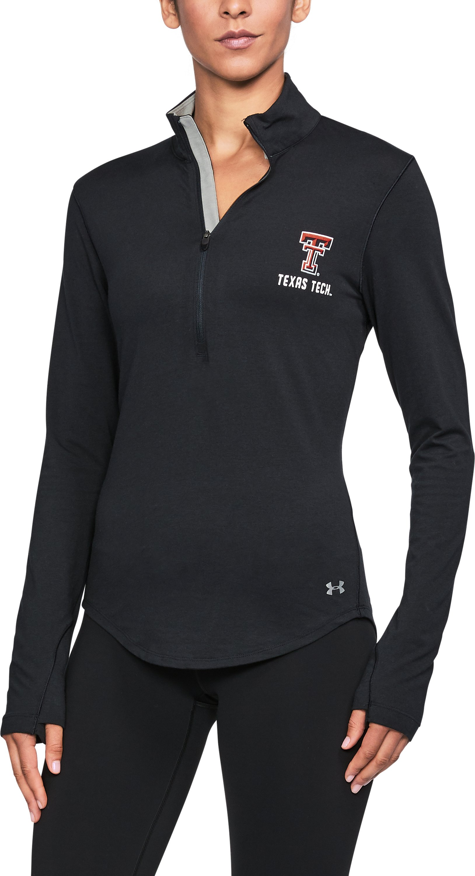 Women's Texas Tech Charged Cotton® ¼ Zip, Black